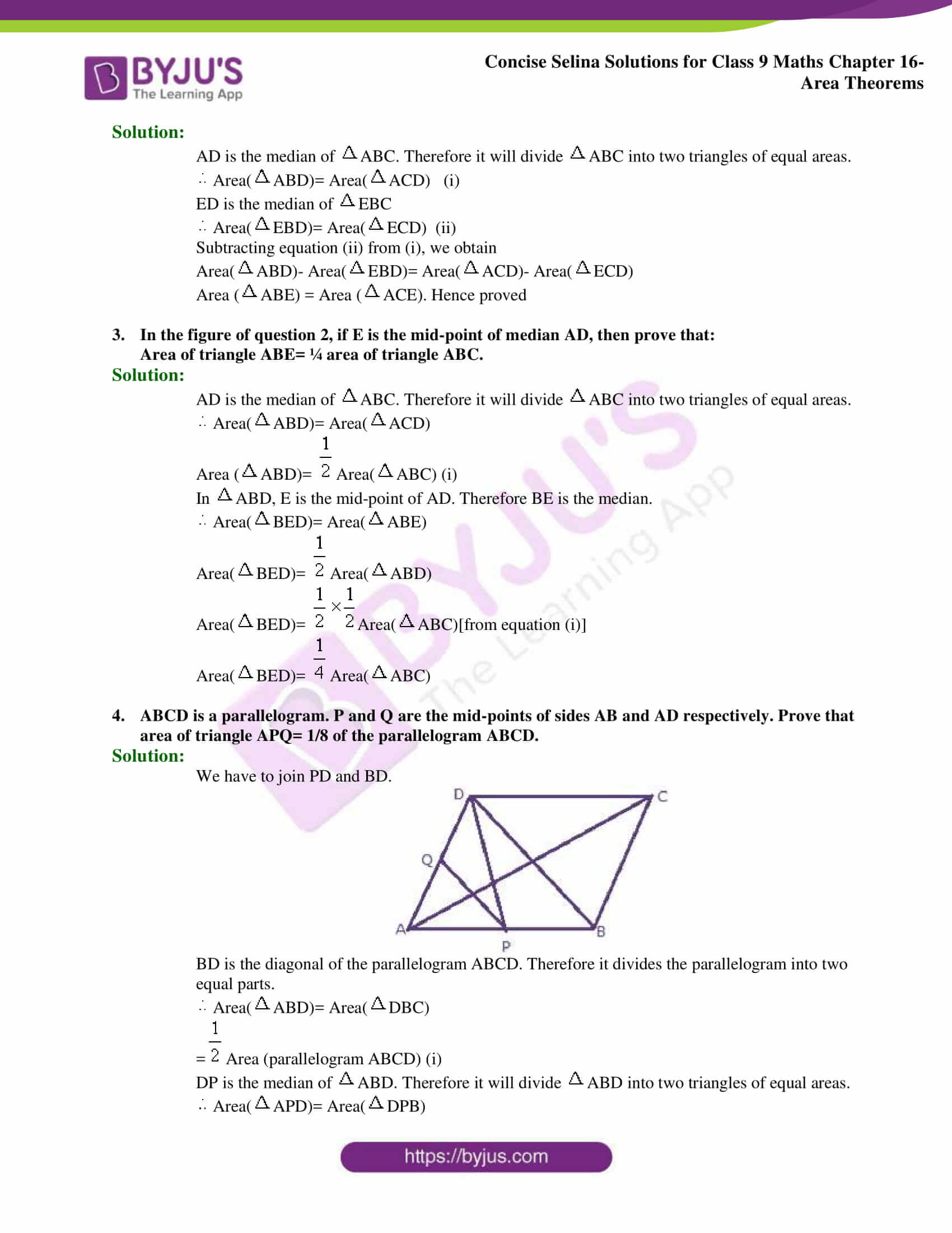 Concise Selina Solutions Class 9 Maths Chapter 16 Area Theorems part 18