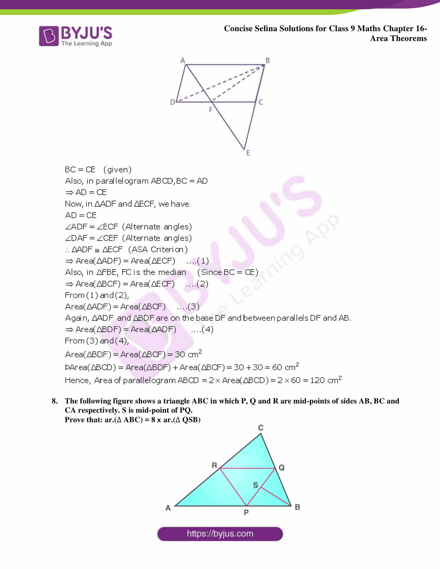 Concise Selina Solutions Class 9 Maths Chapter 16 Area Theorems part 21