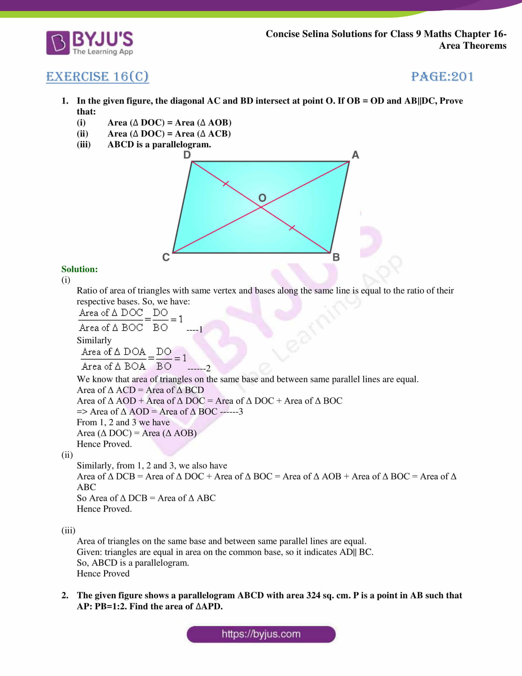 Concise Selina Solutions Class 9 Maths Chapter 16 Area Theorems part 23