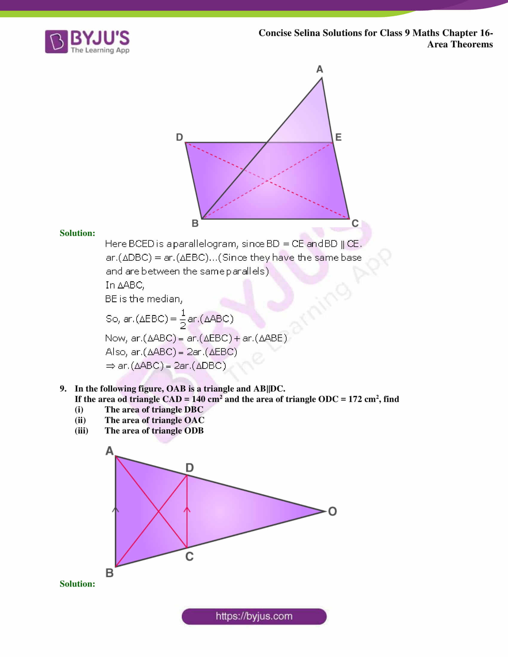 Concise Selina Solutions Class 9 Maths Chapter 16 Area Theorems part 30