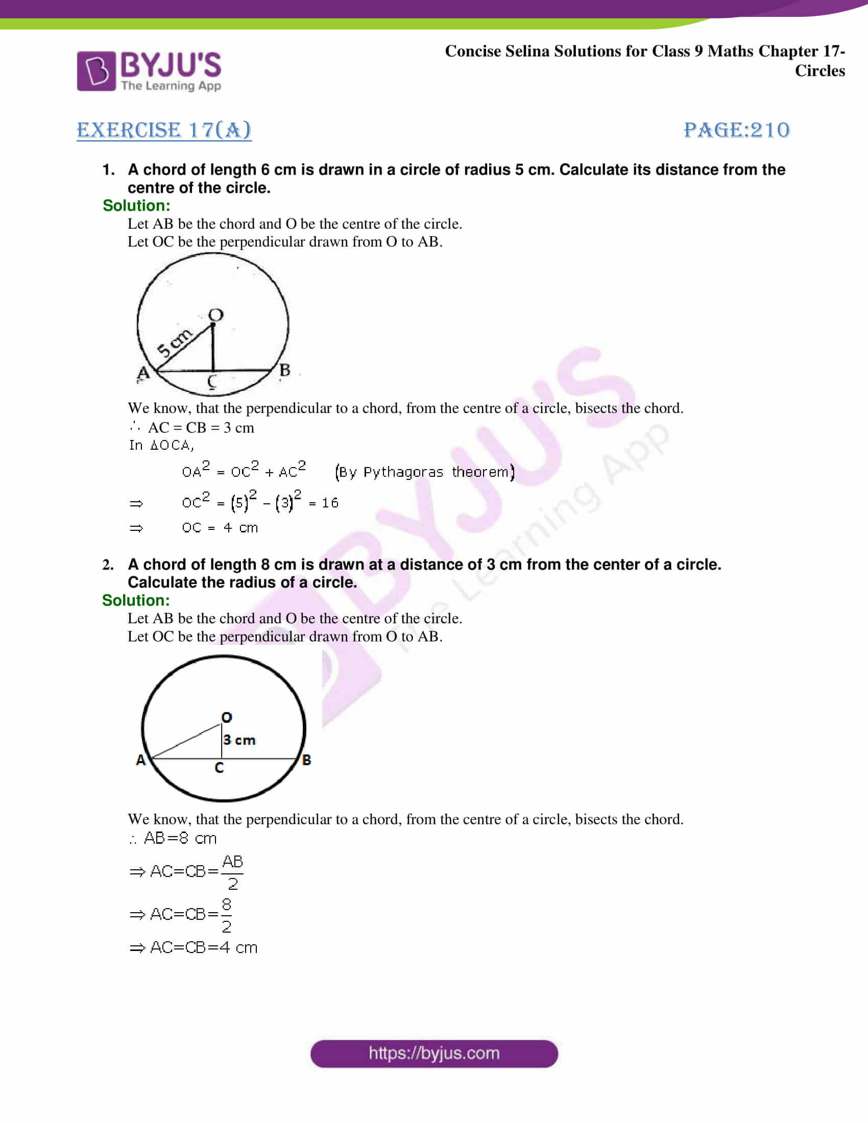 Concise Selina Solutions Class 9 Maths Chapter 17 Circles part 01