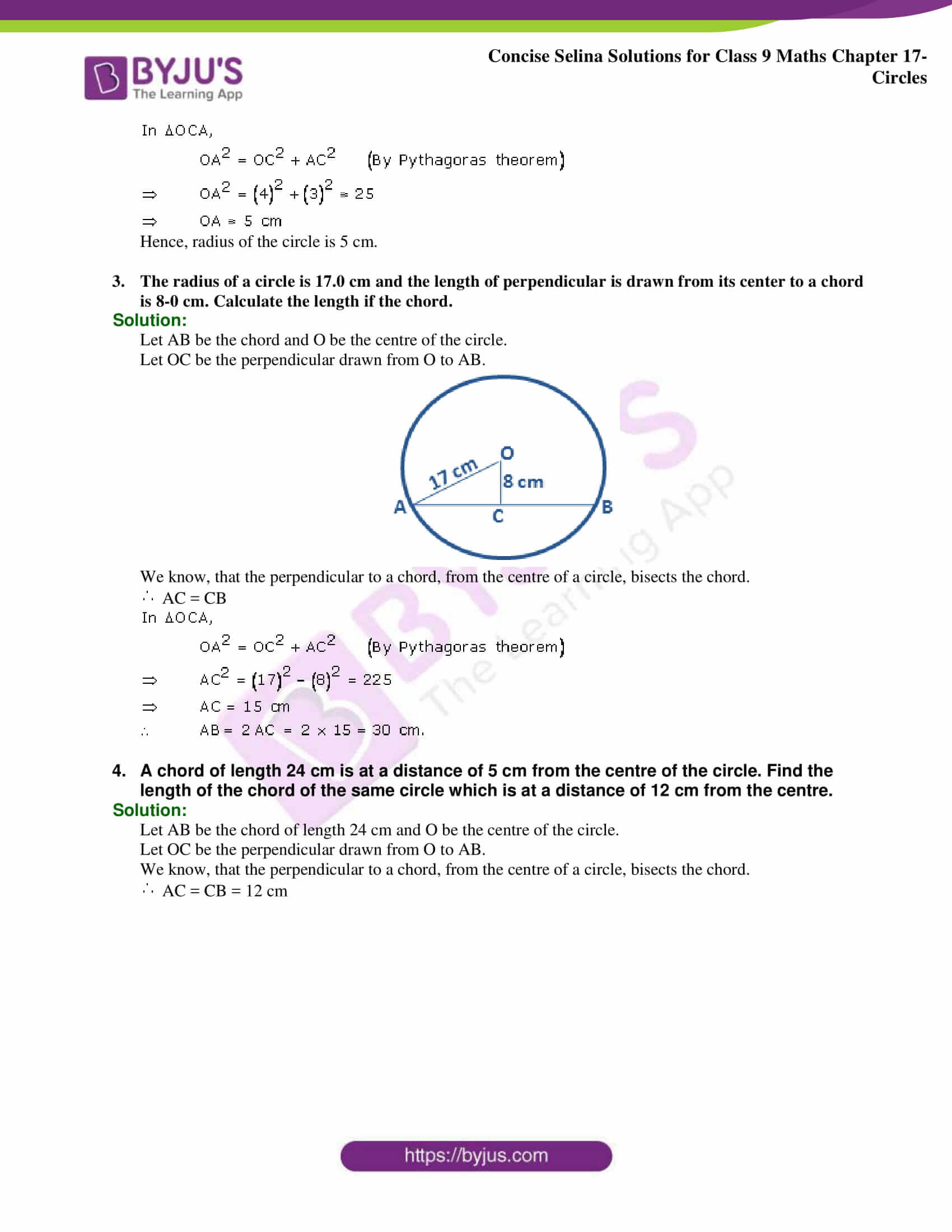 Concise Selina Solutions Class 9 Maths Chapter 17 Circles part 02
