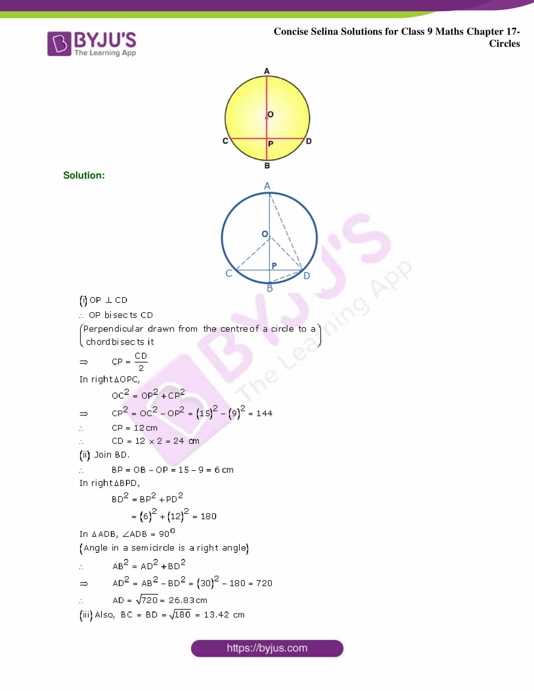 Concise Selina Solutions Class 9 Maths Chapter 17 Circles part 06