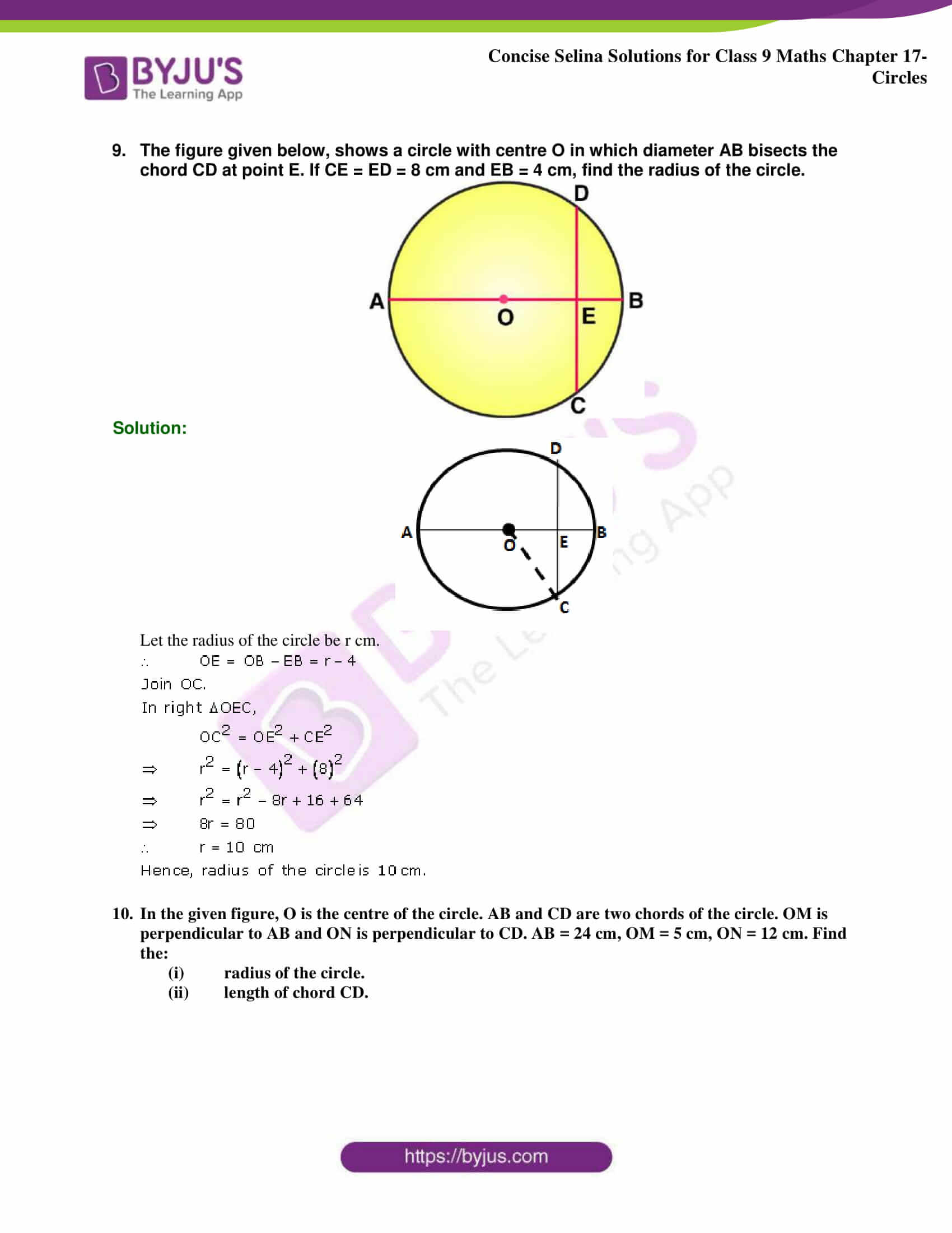 Concise Selina Solutions Class 9 Maths Chapter 17 Circles part 07