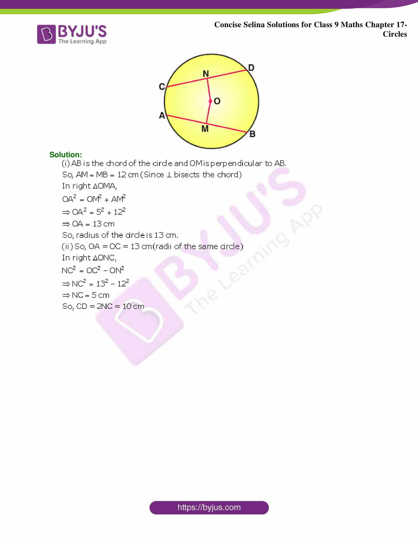 Concise Selina Solutions Class 9 Maths Chapter 17 Circles part 08