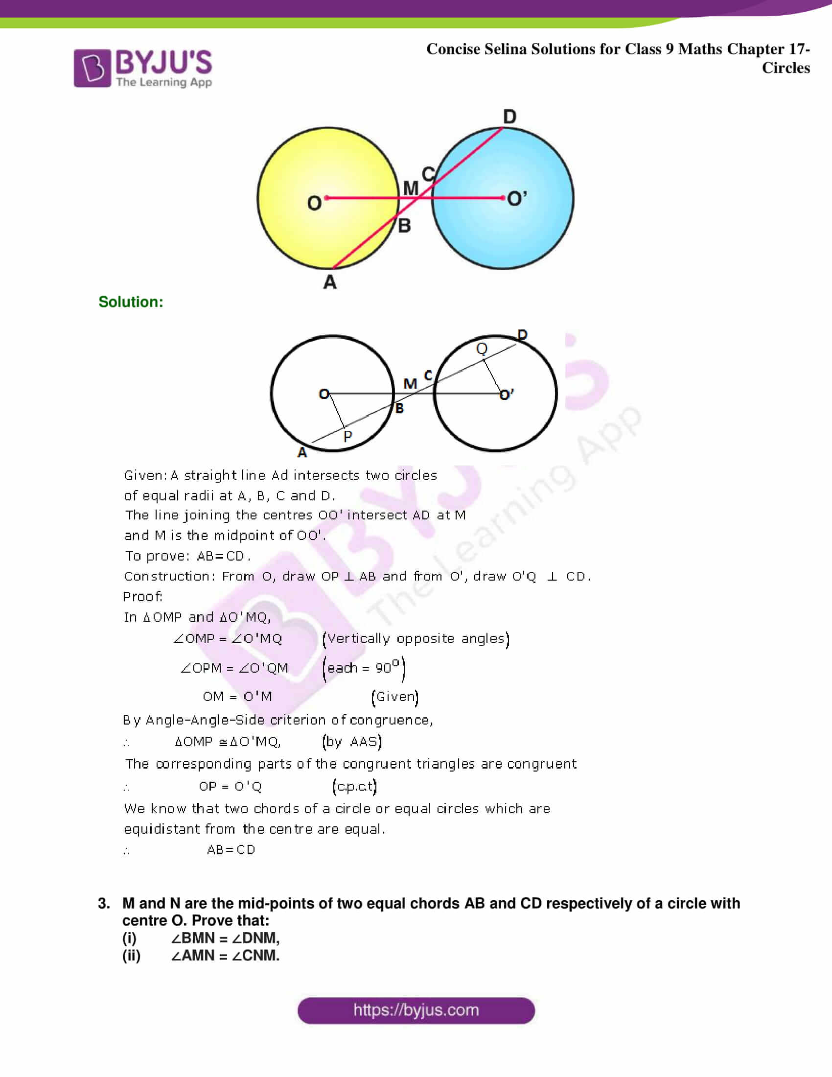 Concise Selina Solutions Class 9 Maths Chapter 17 Circles part 10