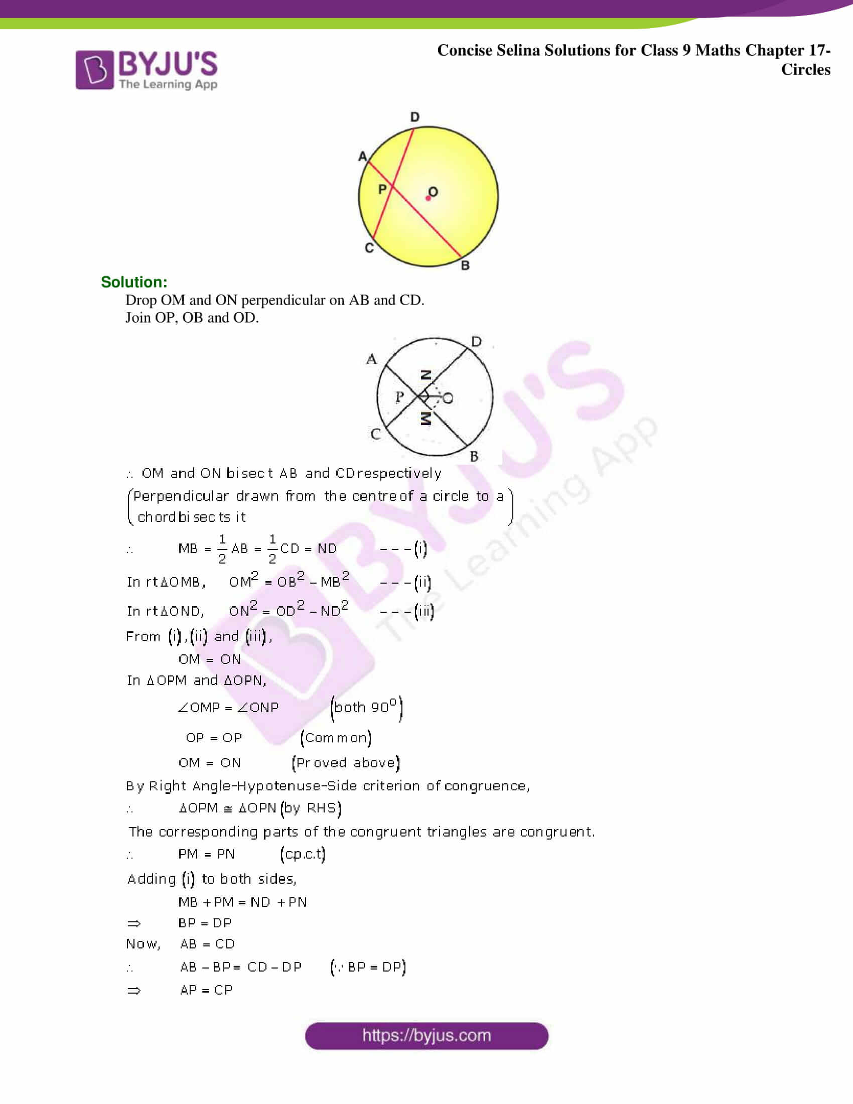 Concise Selina Solutions Class 9 Maths Chapter 17 Circles part 13
