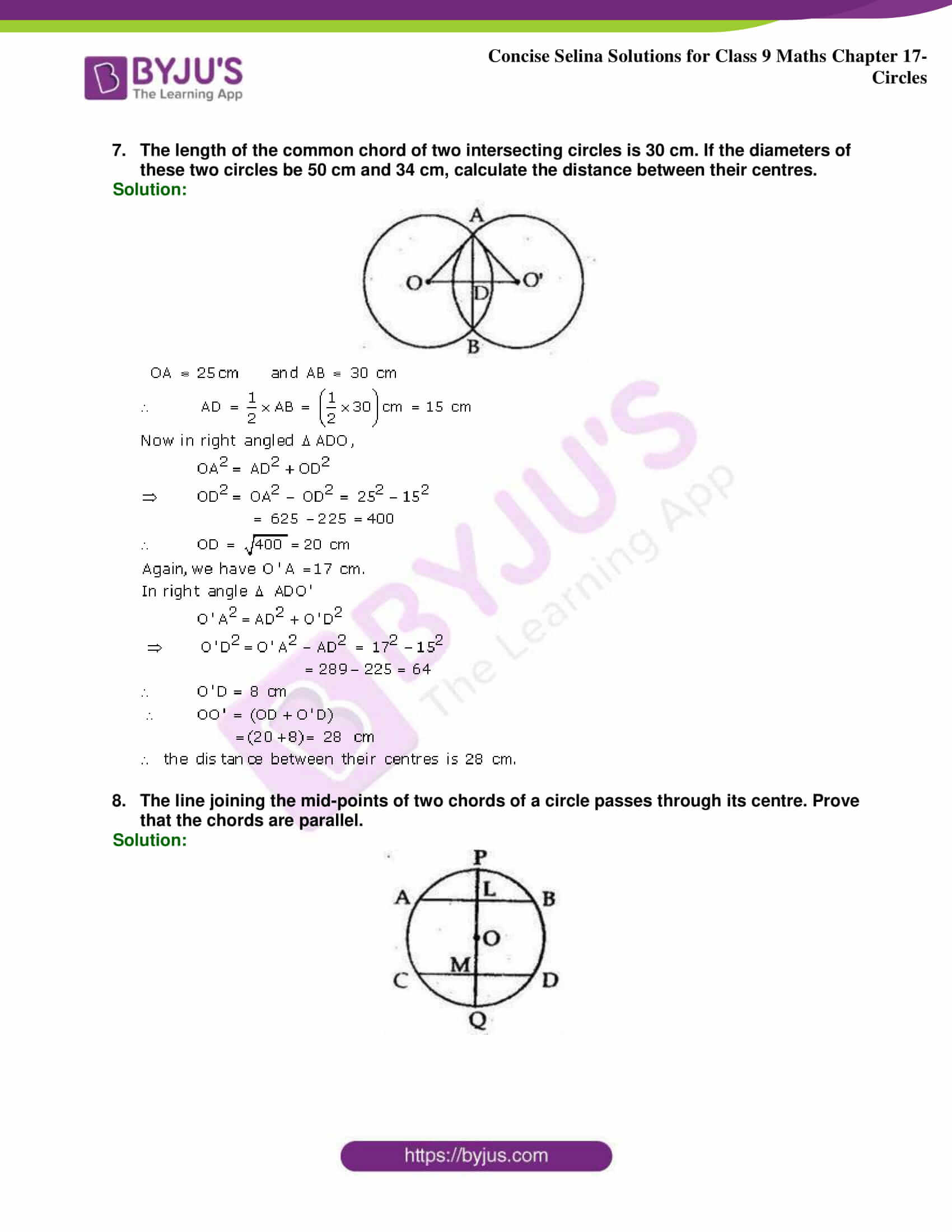 Concise Selina Solutions Class 9 Maths Chapter 17 Circles part 15