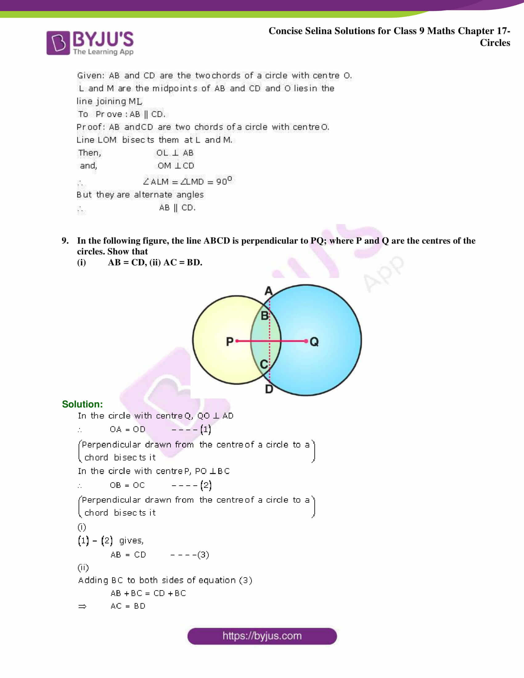 Concise Selina Solutions Class 9 Maths Chapter 17 Circles part 16