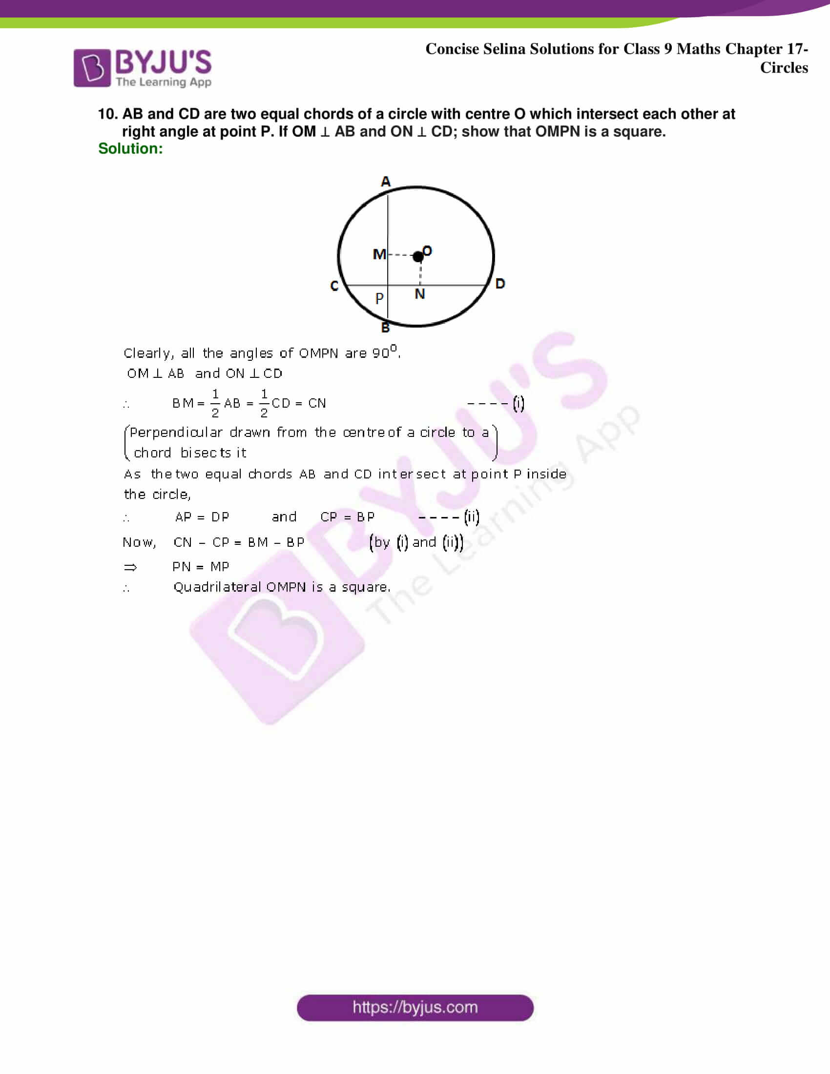 Concise Selina Solutions Class 9 Maths Chapter 17 Circles part 17