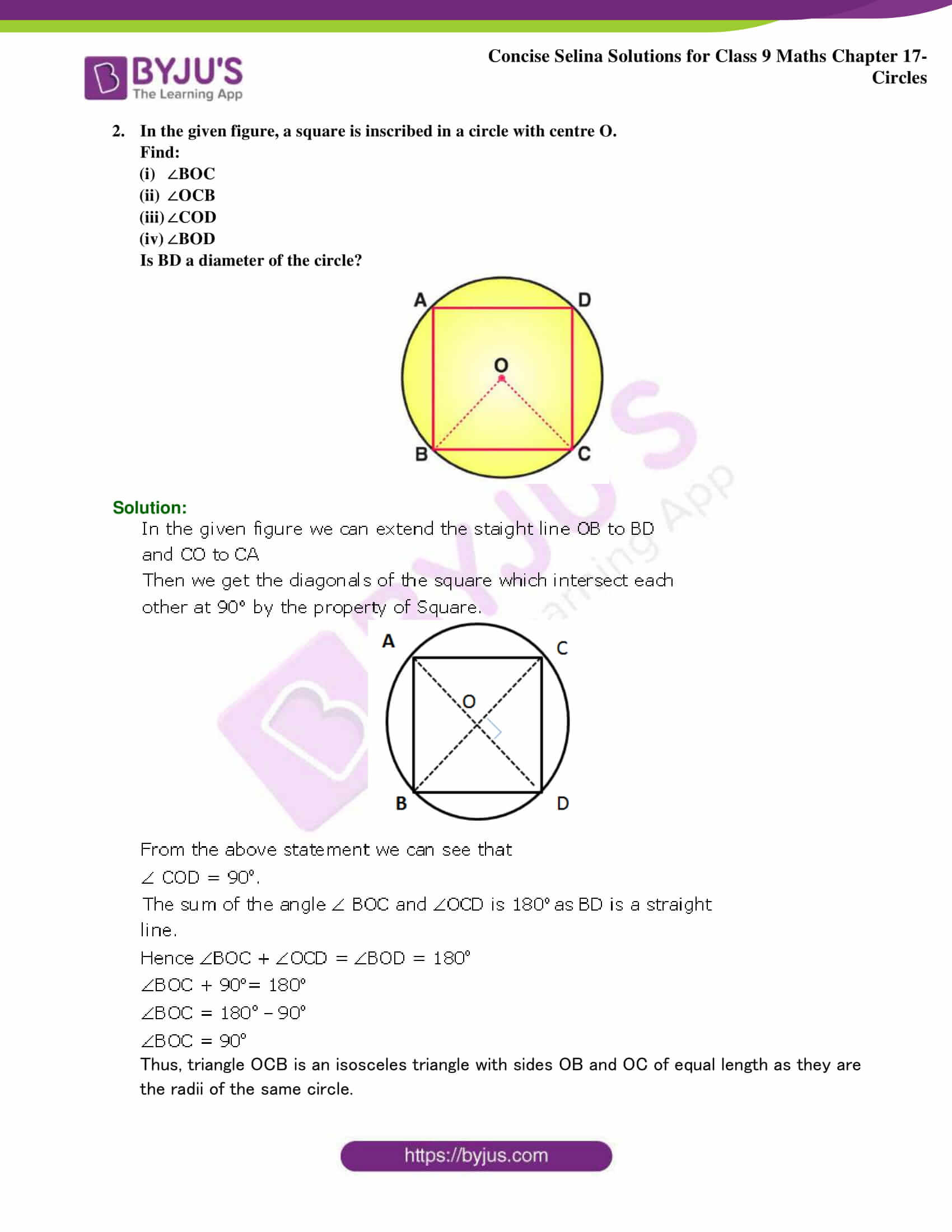 Concise Selina Solutions Class 9 Maths Chapter 17 Circles part 19