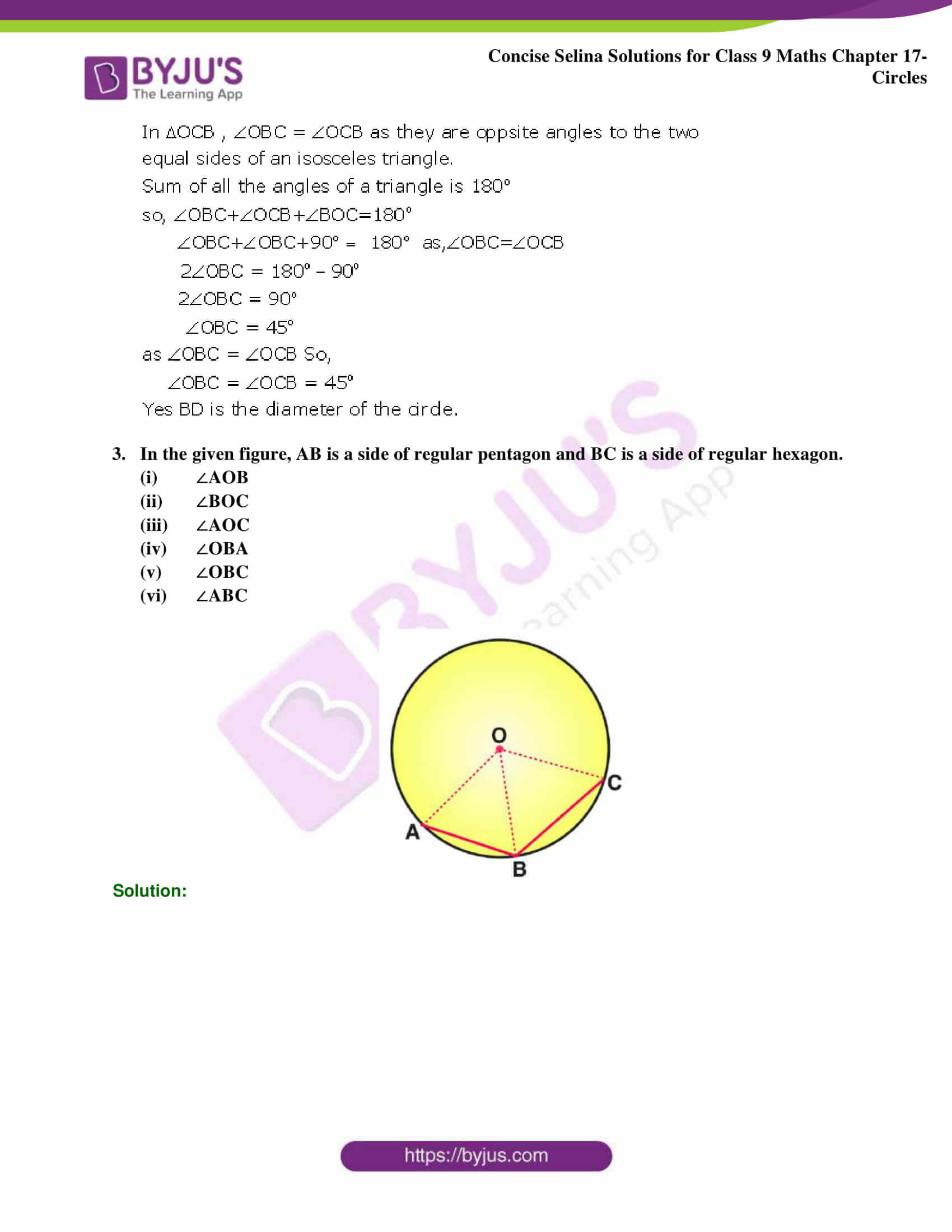 Concise Selina Solutions Class 9 Maths Chapter 17 Circles part 20