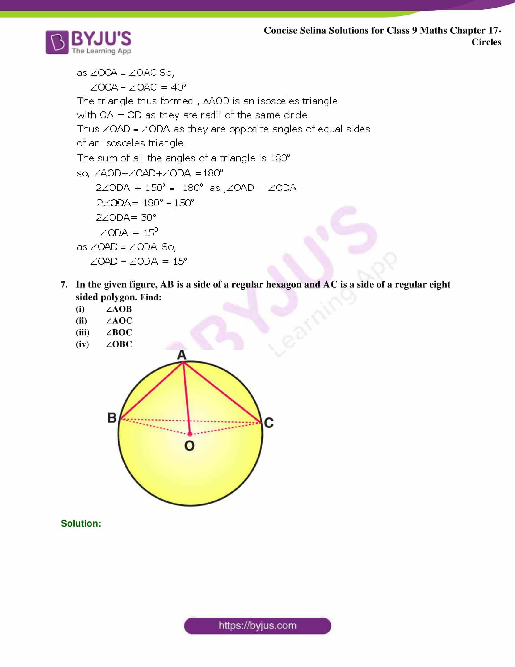 Concise Selina Solutions Class 9 Maths Chapter 17 Circles part 26