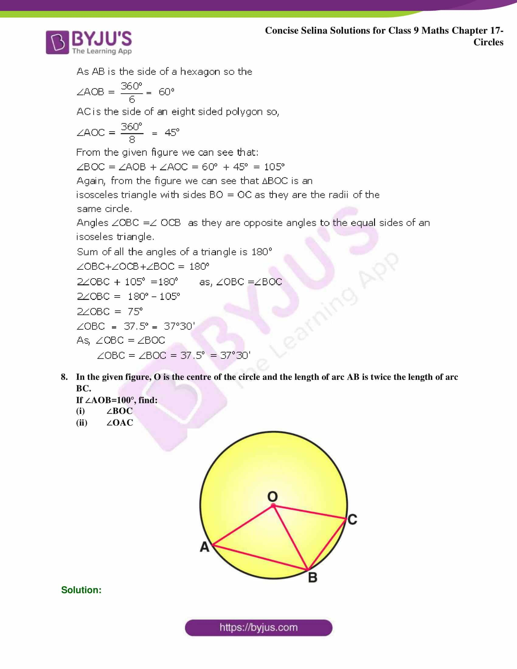 Concise Selina Solutions Class 9 Maths Chapter 17 Circles part 27