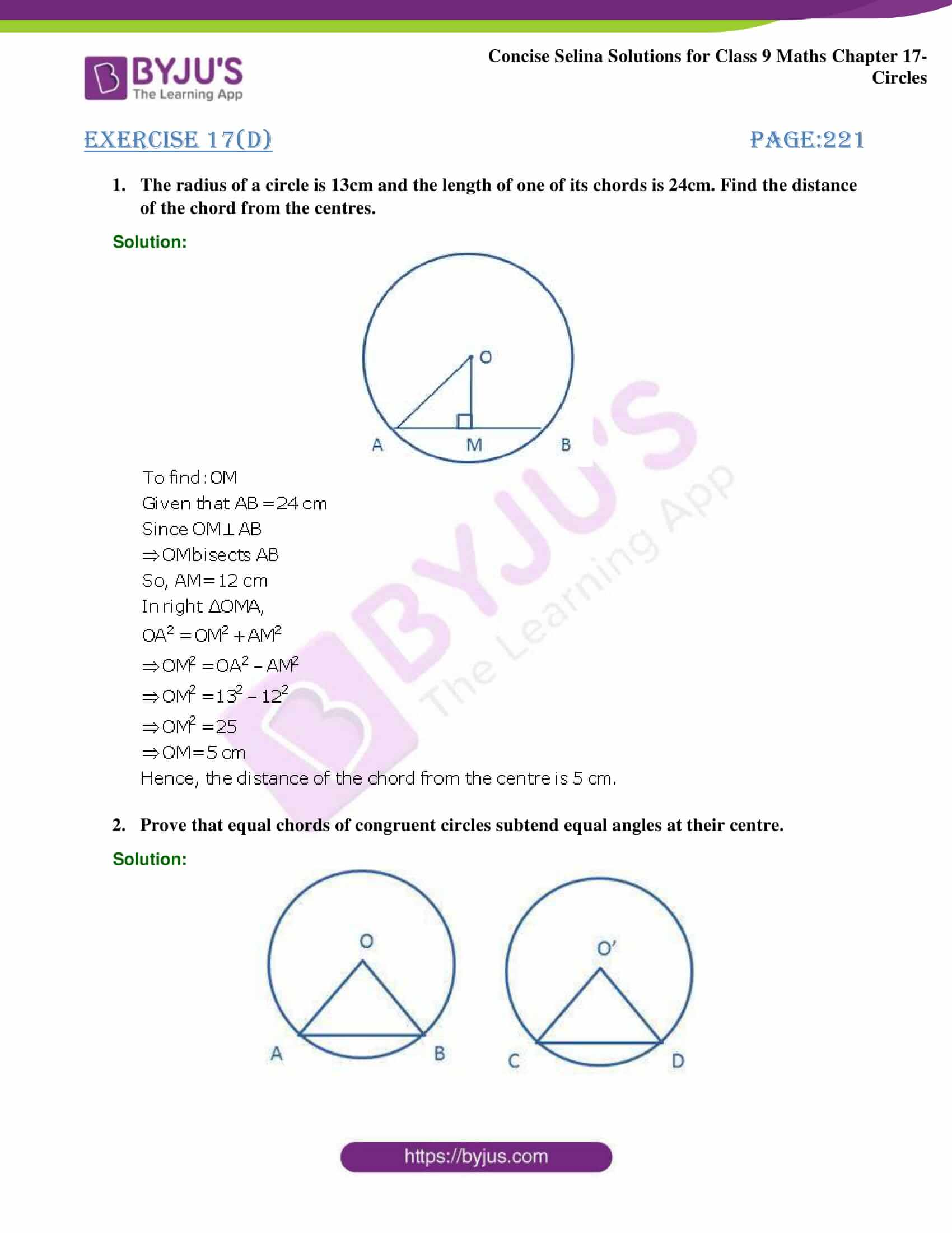 Concise Selina Solutions Class 9 Maths Chapter 17 Circles part 29