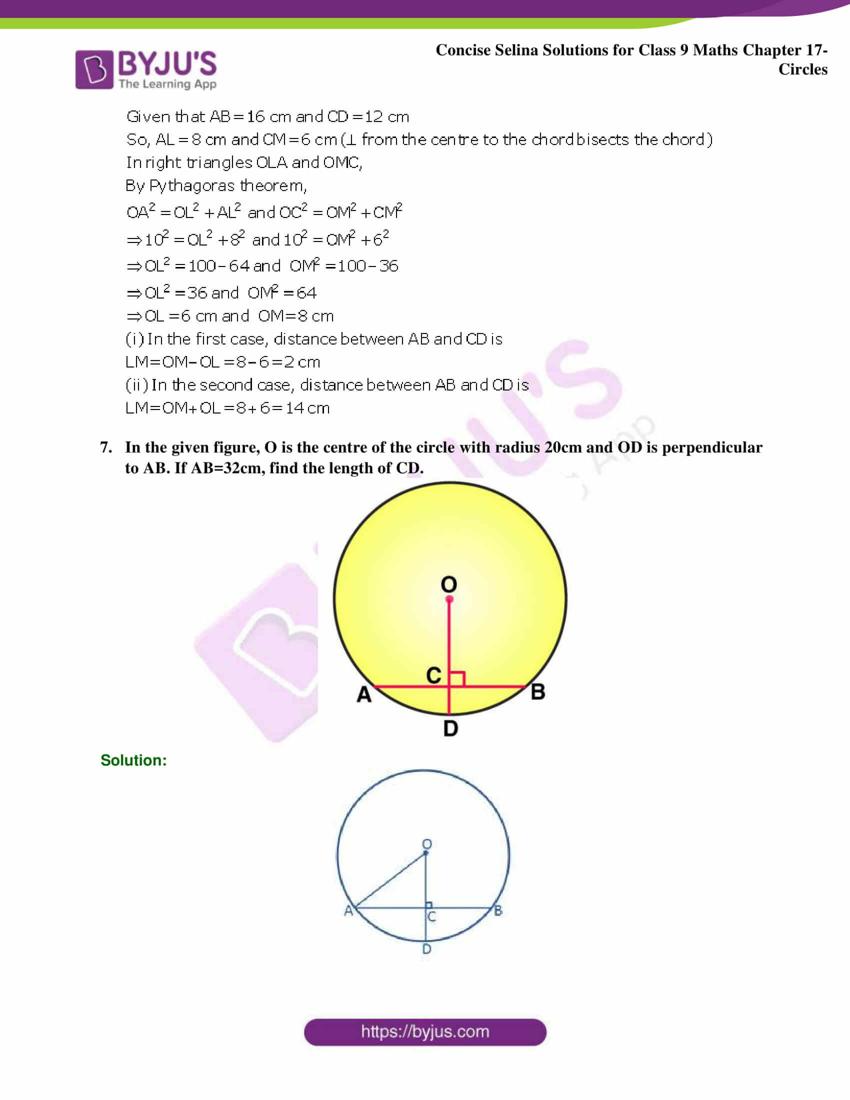 Concise Selina Solutions Class 9 Maths Chapter 17 Circles part 33
