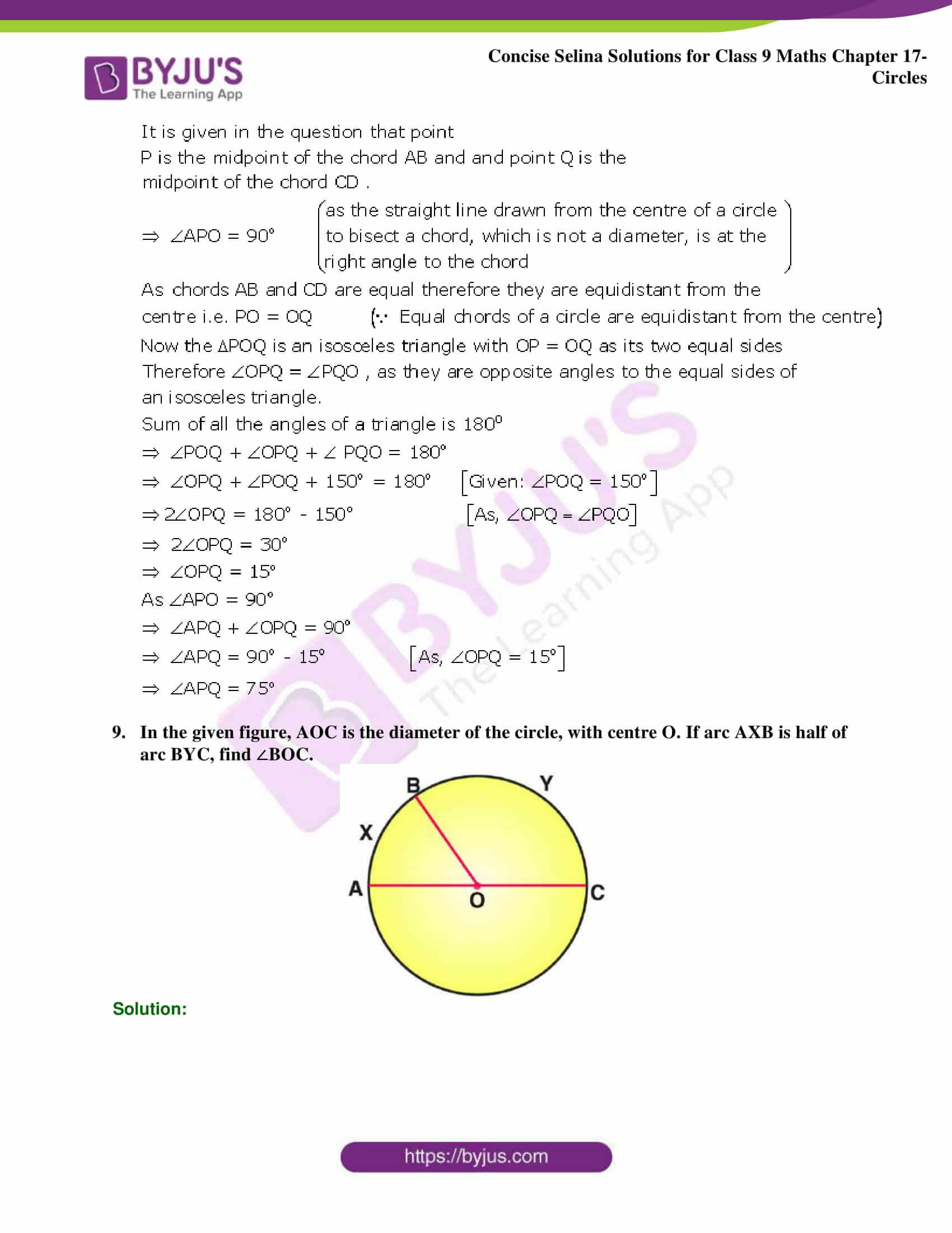 Concise Selina Solutions Class 9 Maths Chapter 17 Circles part 35