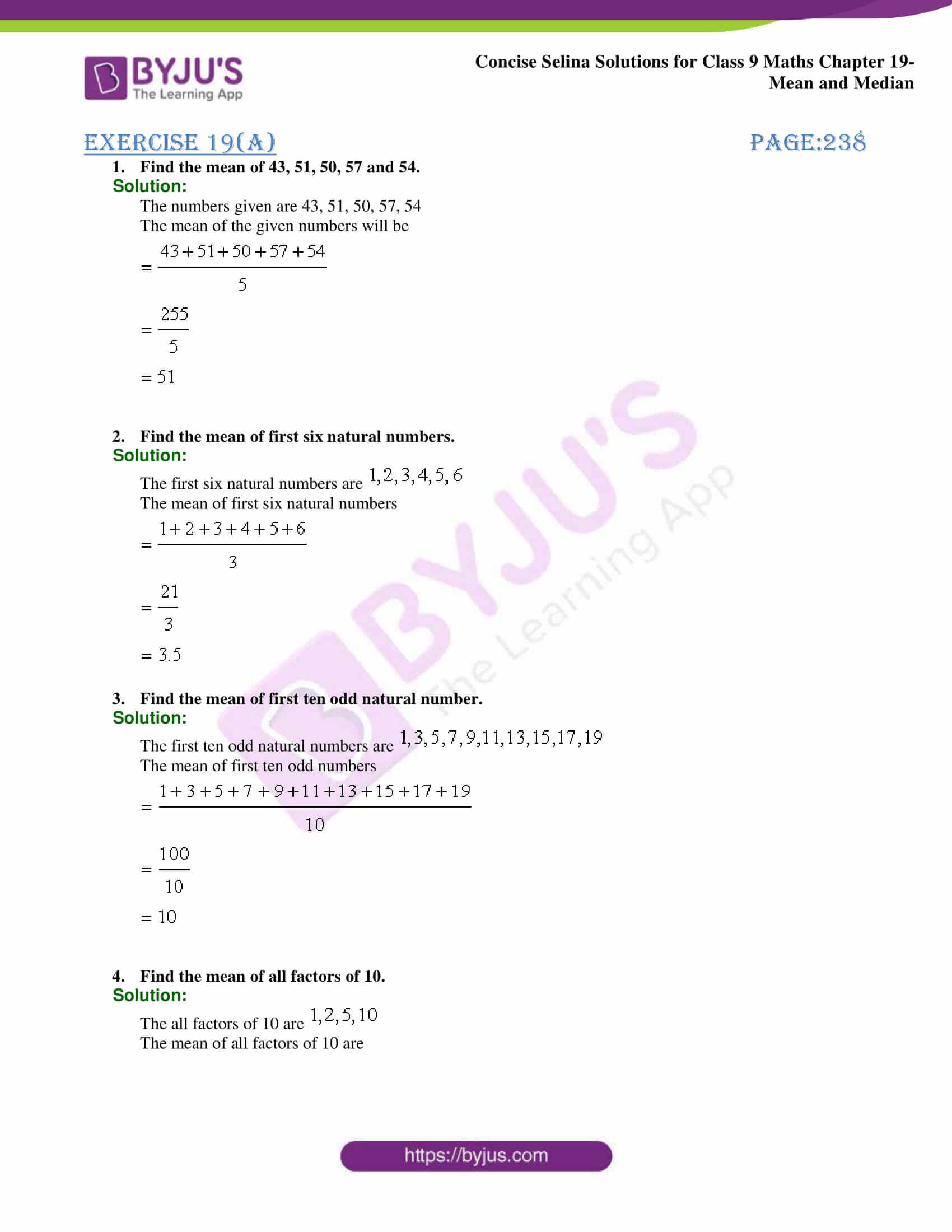 Concise Selina Solutions Class 9 Maths Chapter 19 Mean and Median part 01