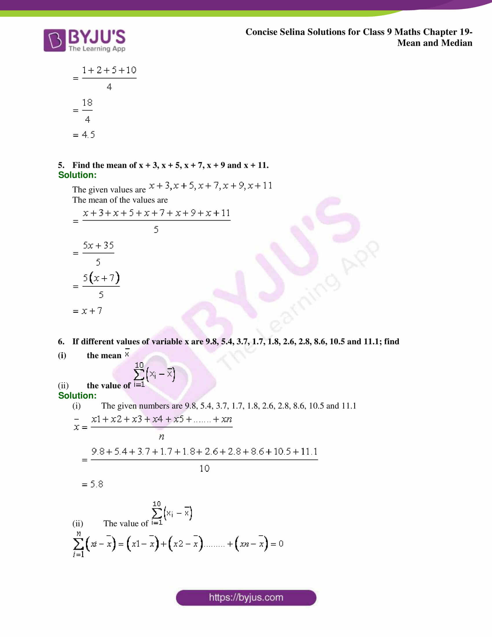 Concise Selina Solutions Class 9 Maths Chapter 19 Mean and Median part 02