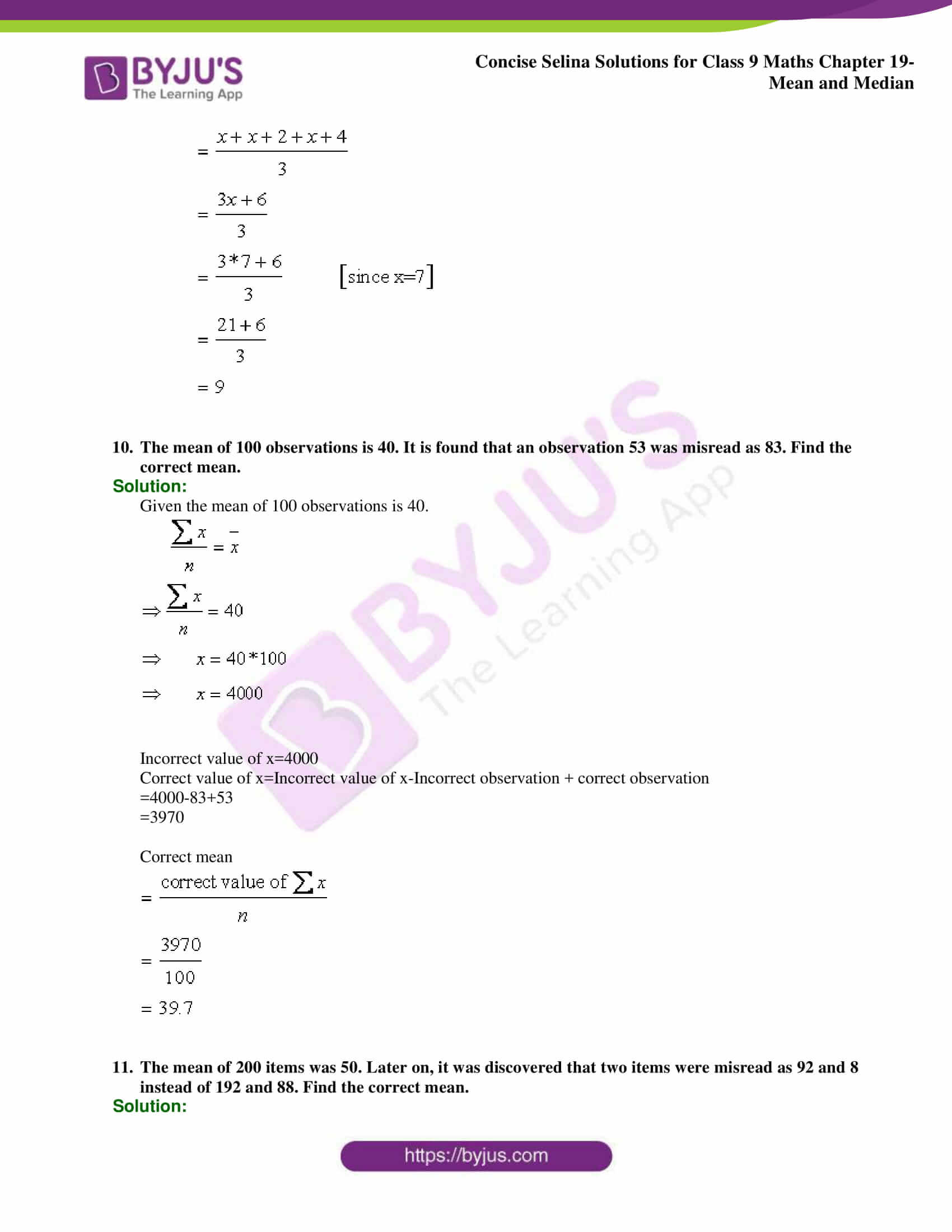 Concise Selina Solutions Class 9 Maths Chapter 19 Mean and Median part 05