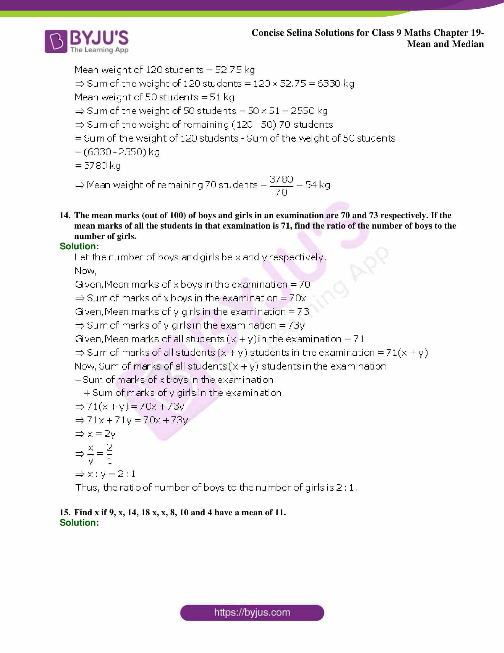 Concise Selina Solutions Class 9 Maths Chapter 19 Mean and Median part 07
