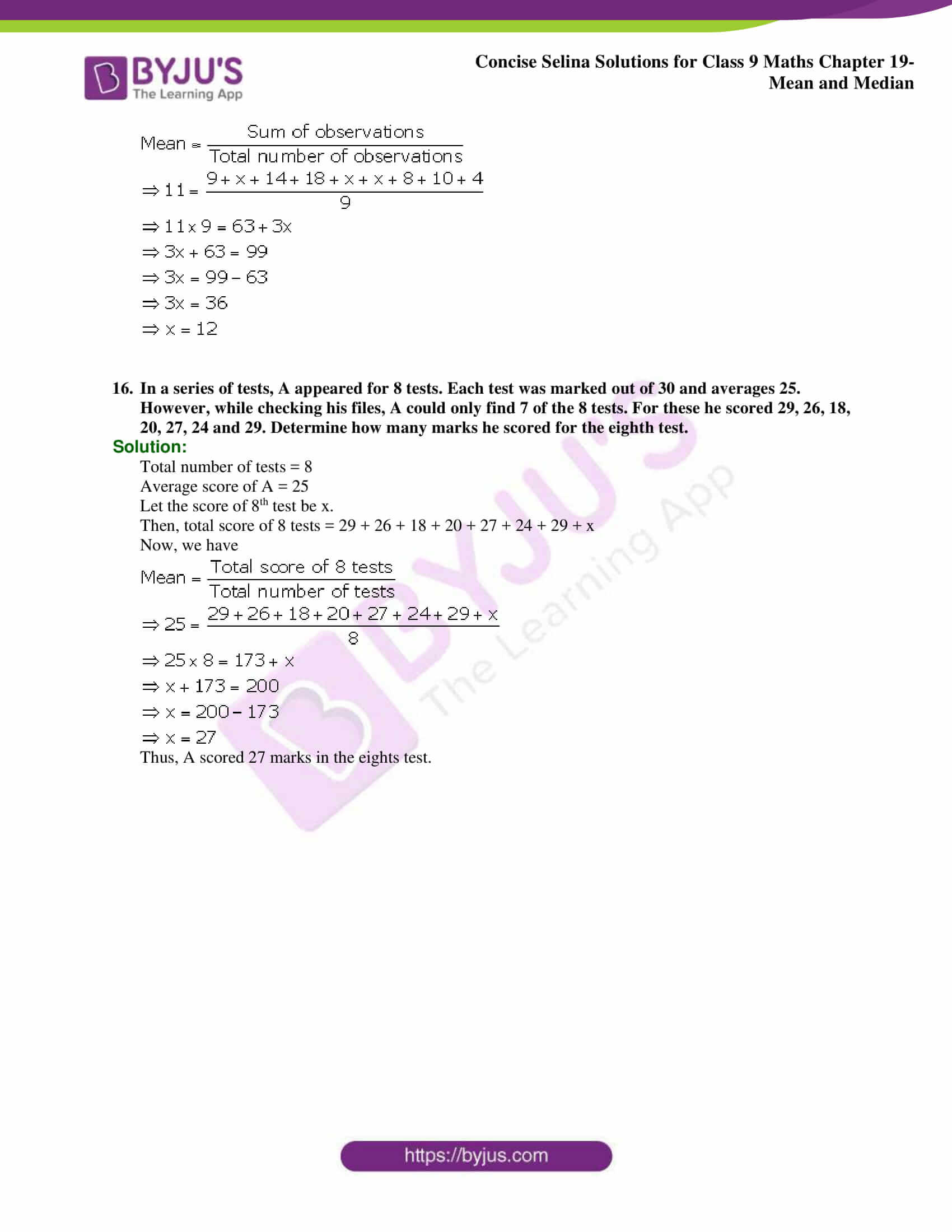 Concise Selina Solutions Class 9 Maths Chapter 19 Mean and Median part 08