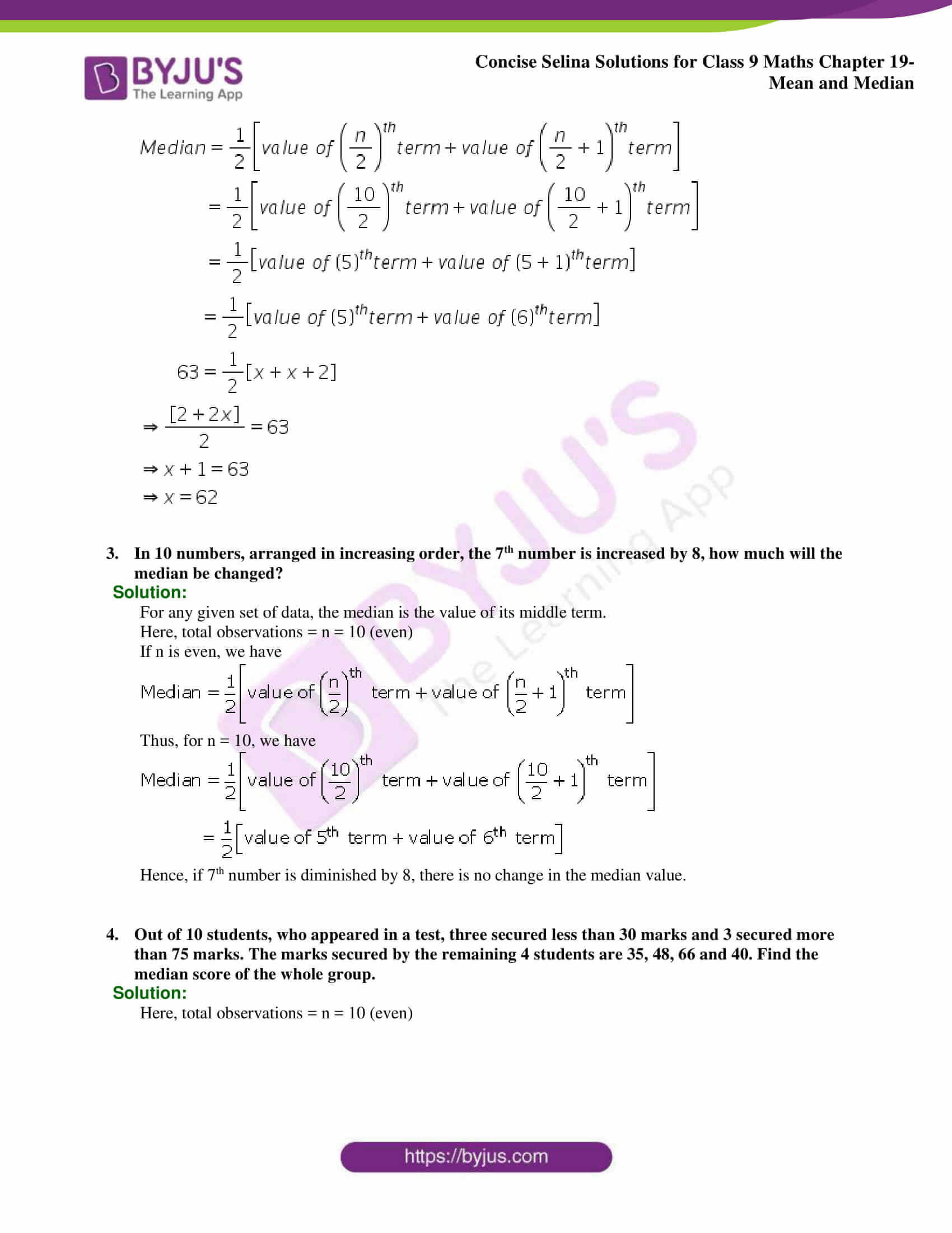 Concise Selina Solutions Class 9 Maths Chapter 19 Mean and Median part 11