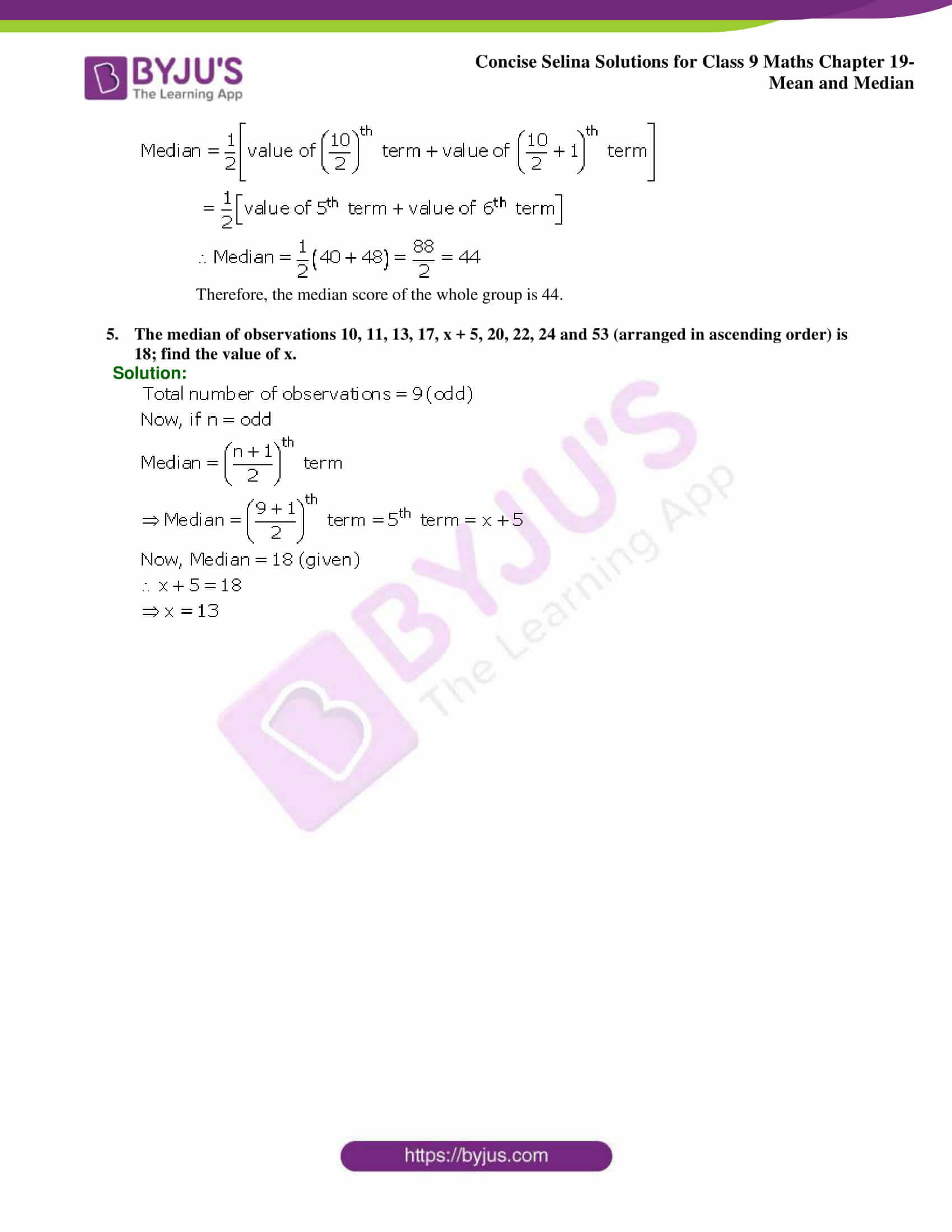 Concise Selina Solutions Class 9 Maths Chapter 19 Mean and Median part 12