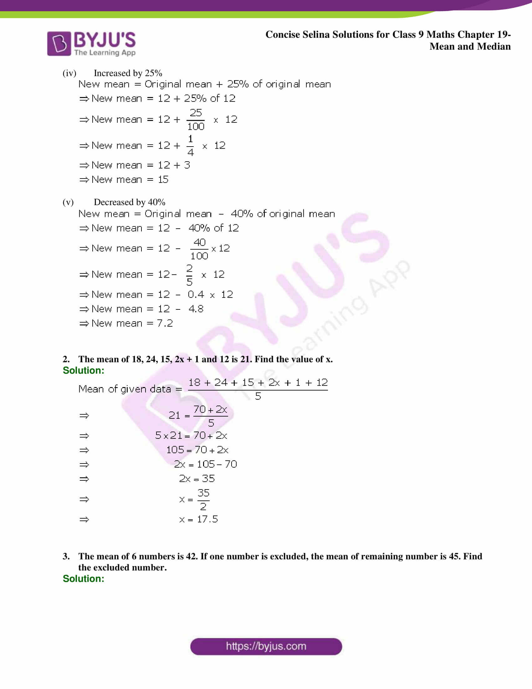 Concise Selina Solutions Class 9 Maths Chapter 19 Mean and Median part 14