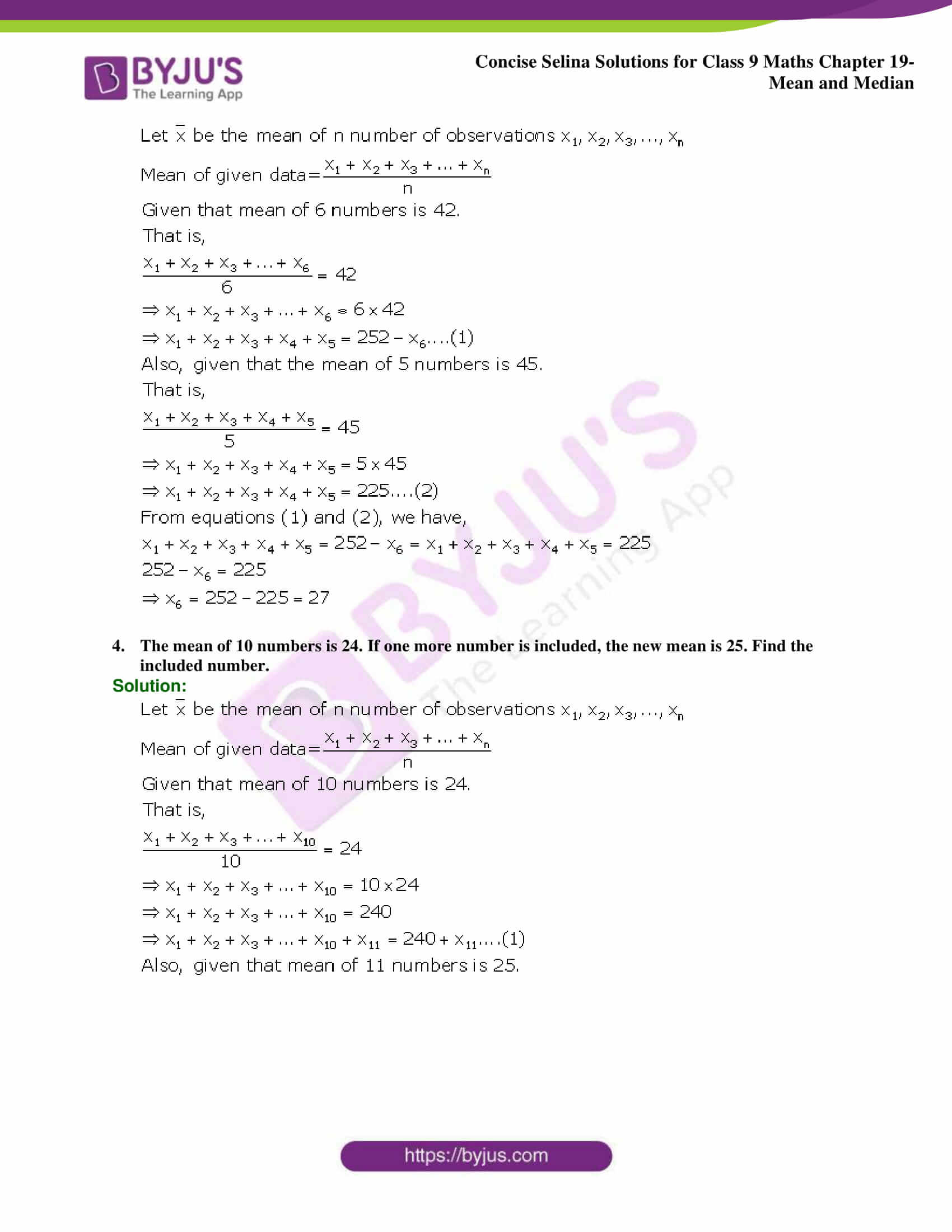 Concise Selina Solutions Class 9 Maths Chapter 19 Mean and Median part 15