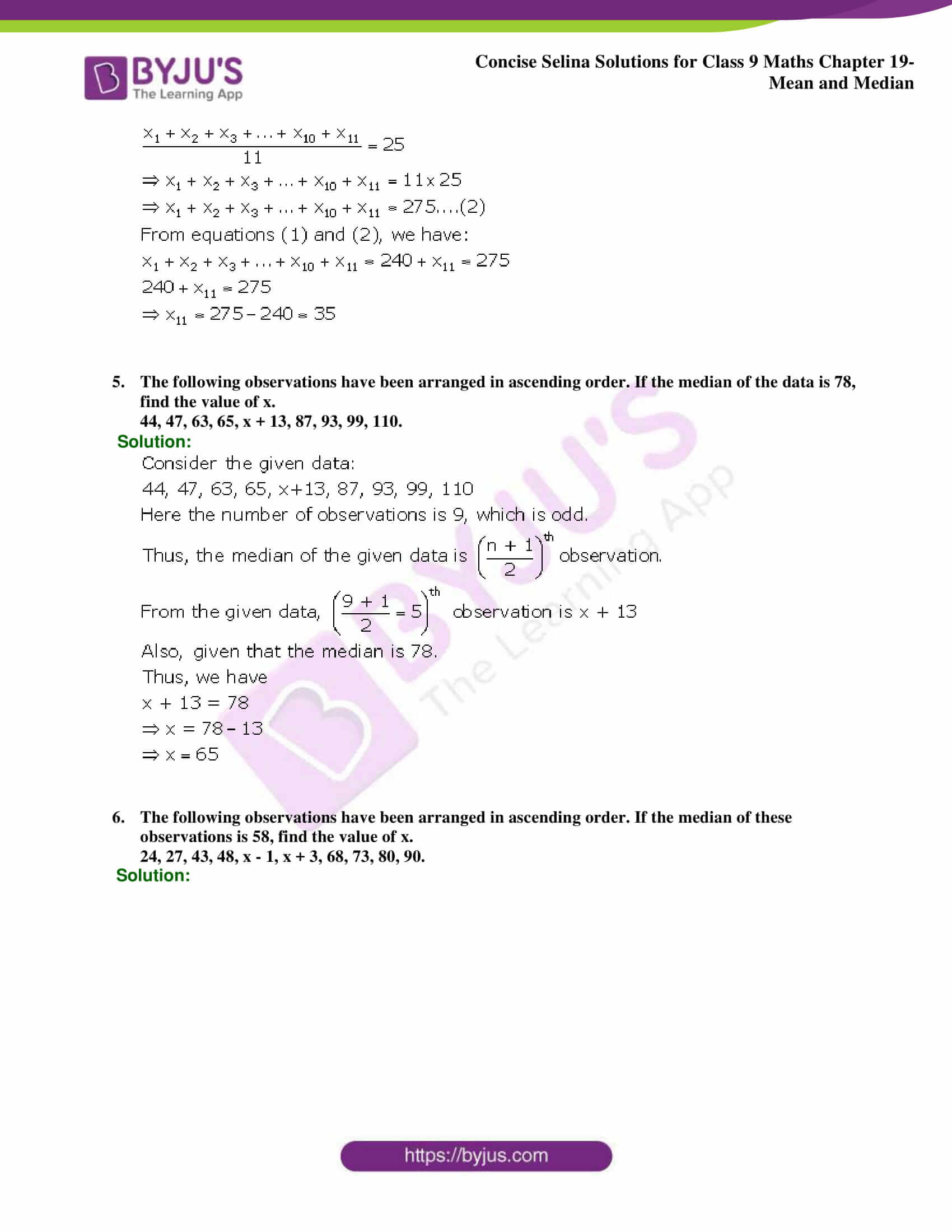 Concise Selina Solutions Class 9 Maths Chapter 19 Mean and Median part 16