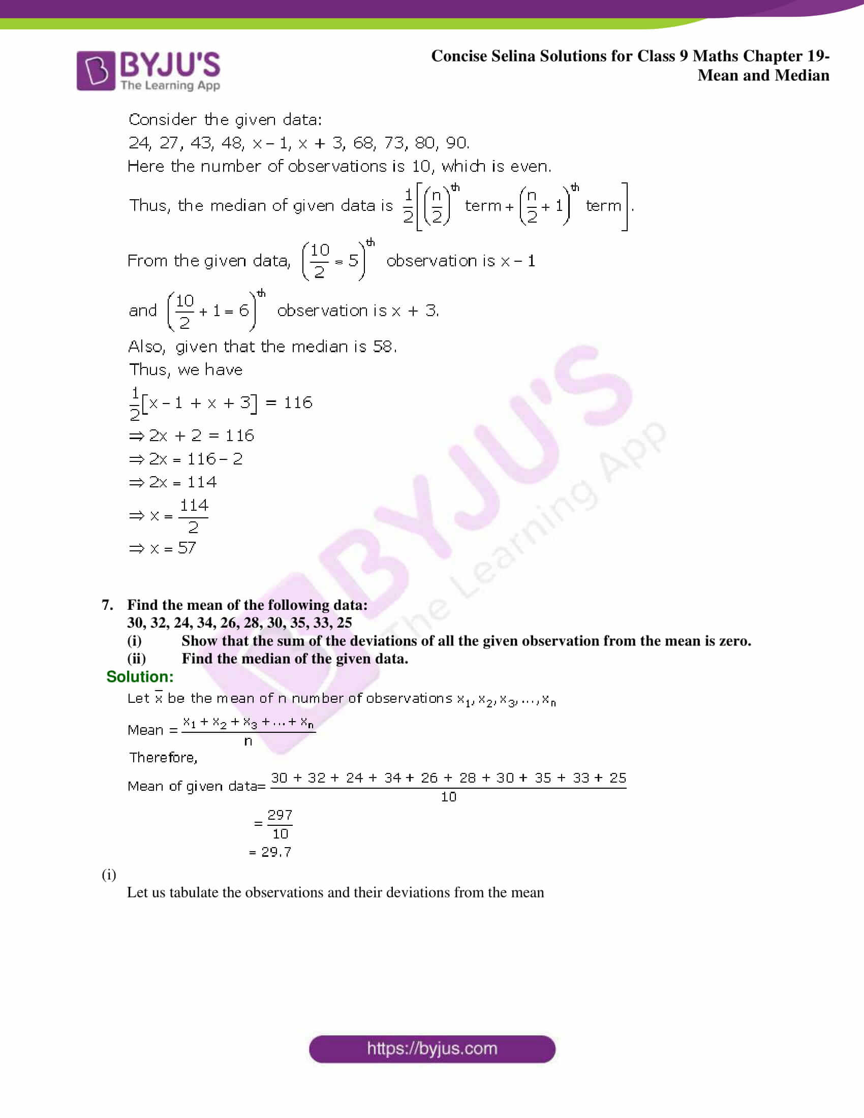 Concise Selina Solutions Class 9 Maths Chapter 19 Mean and Median part 17