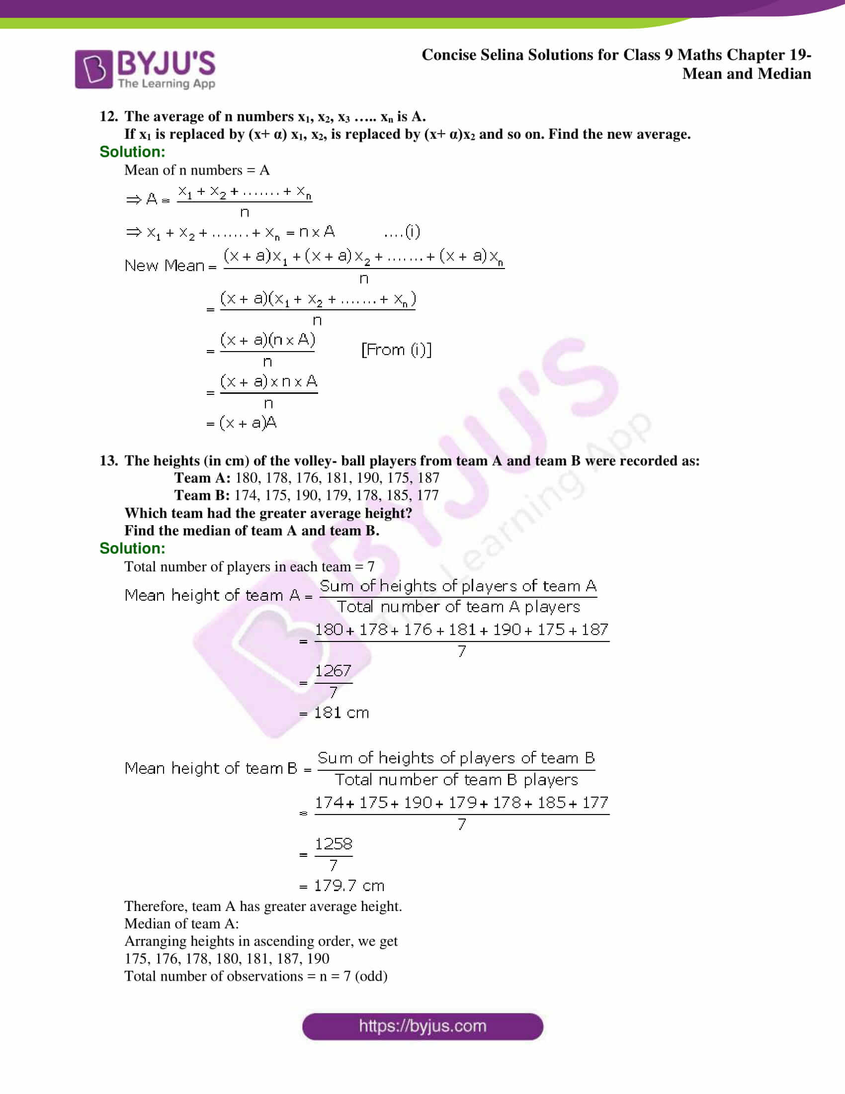 Concise Selina Solutions Class 9 Maths Chapter 19 Mean and Median part 22