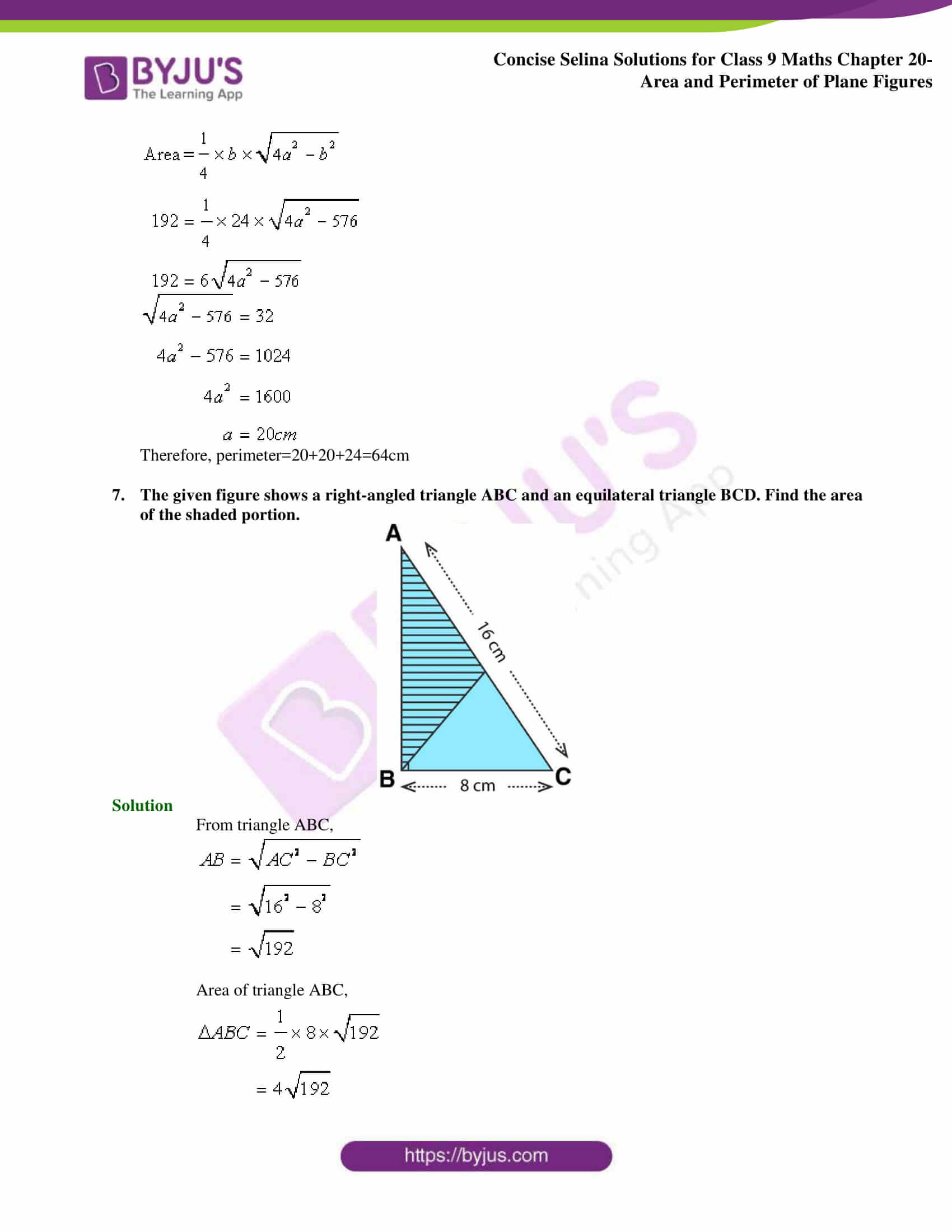 Concise Selina Solutions Class 9 Maths Chapter 20 Area and Perimeter of Plane part 04