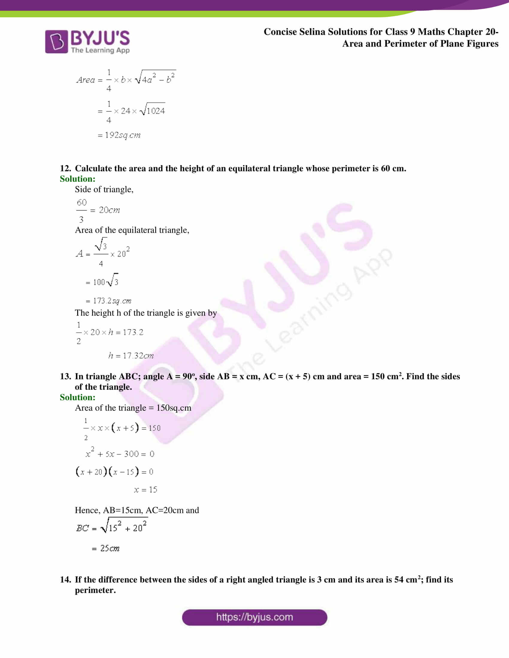 Concise Selina Solutions Class 9 Maths Chapter 20 Area and Perimeter of Plane part 09