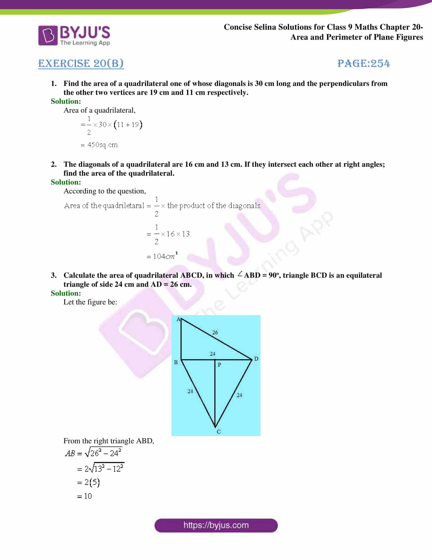 Concise Selina Solutions Class 9 Maths Chapter 20 Area and Perimeter of Plane part 11