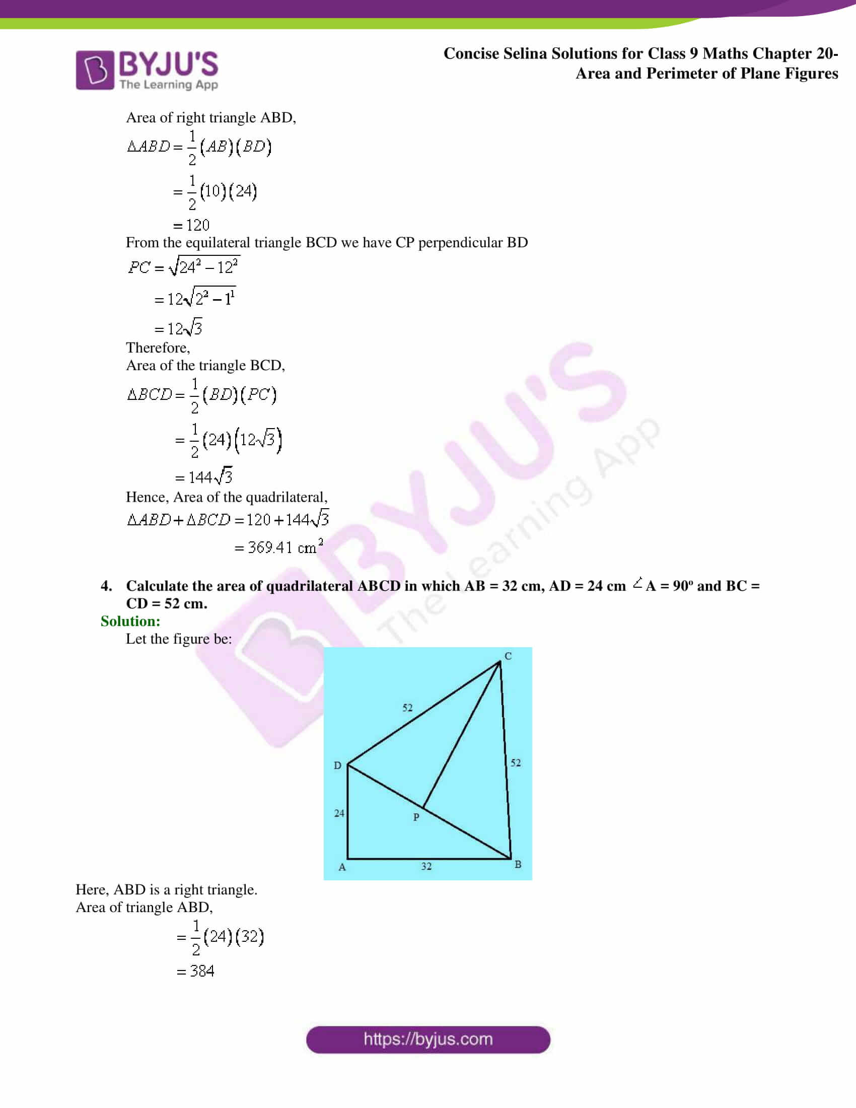 Concise Selina Solutions Class 9 Maths Chapter 20 Area and Perimeter of Plane part 12
