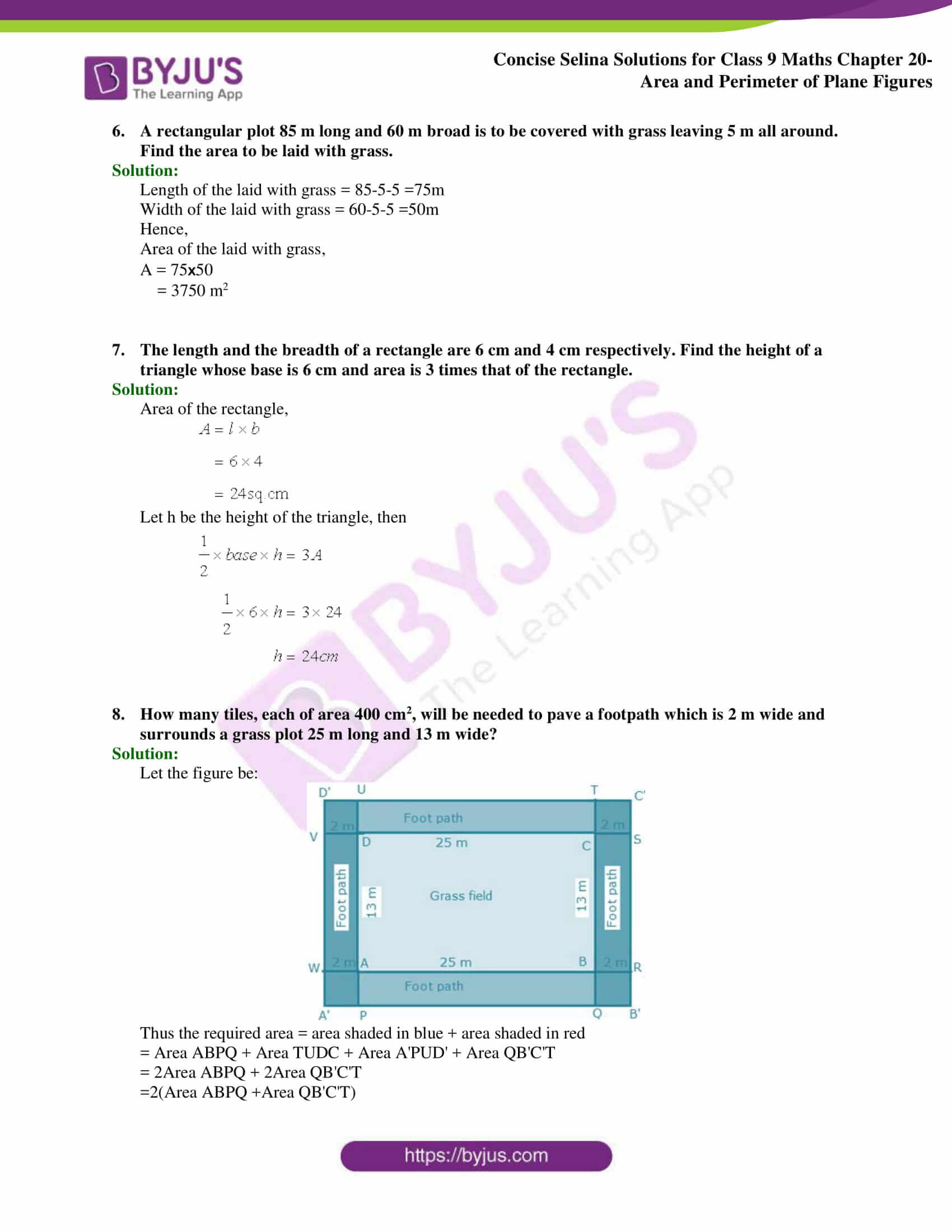 Concise Selina Solutions Class 9 Maths Chapter 20 Area and Perimeter of Plane part 14