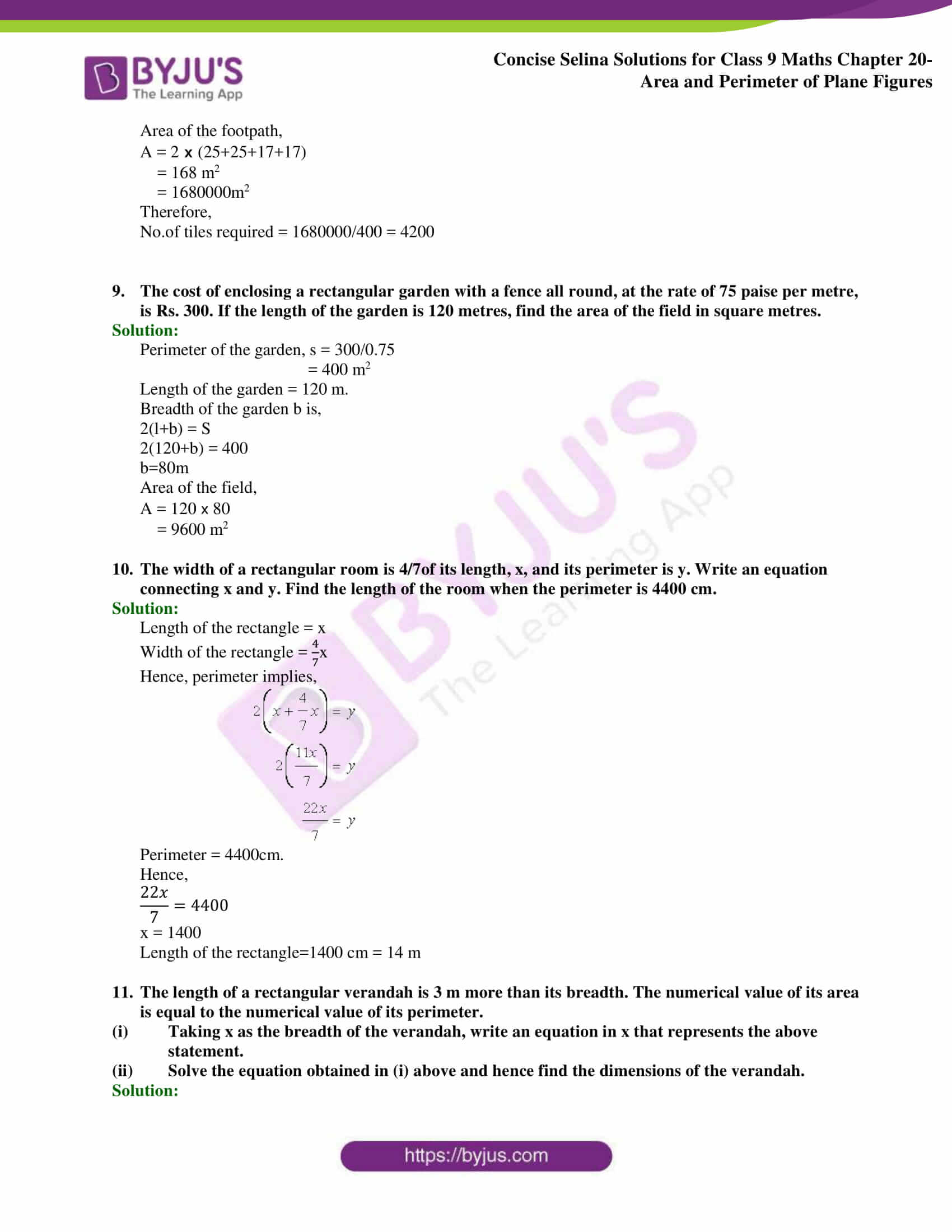 Concise Selina Solutions Class 9 Maths Chapter 20 Area and Perimeter of Plane part 15