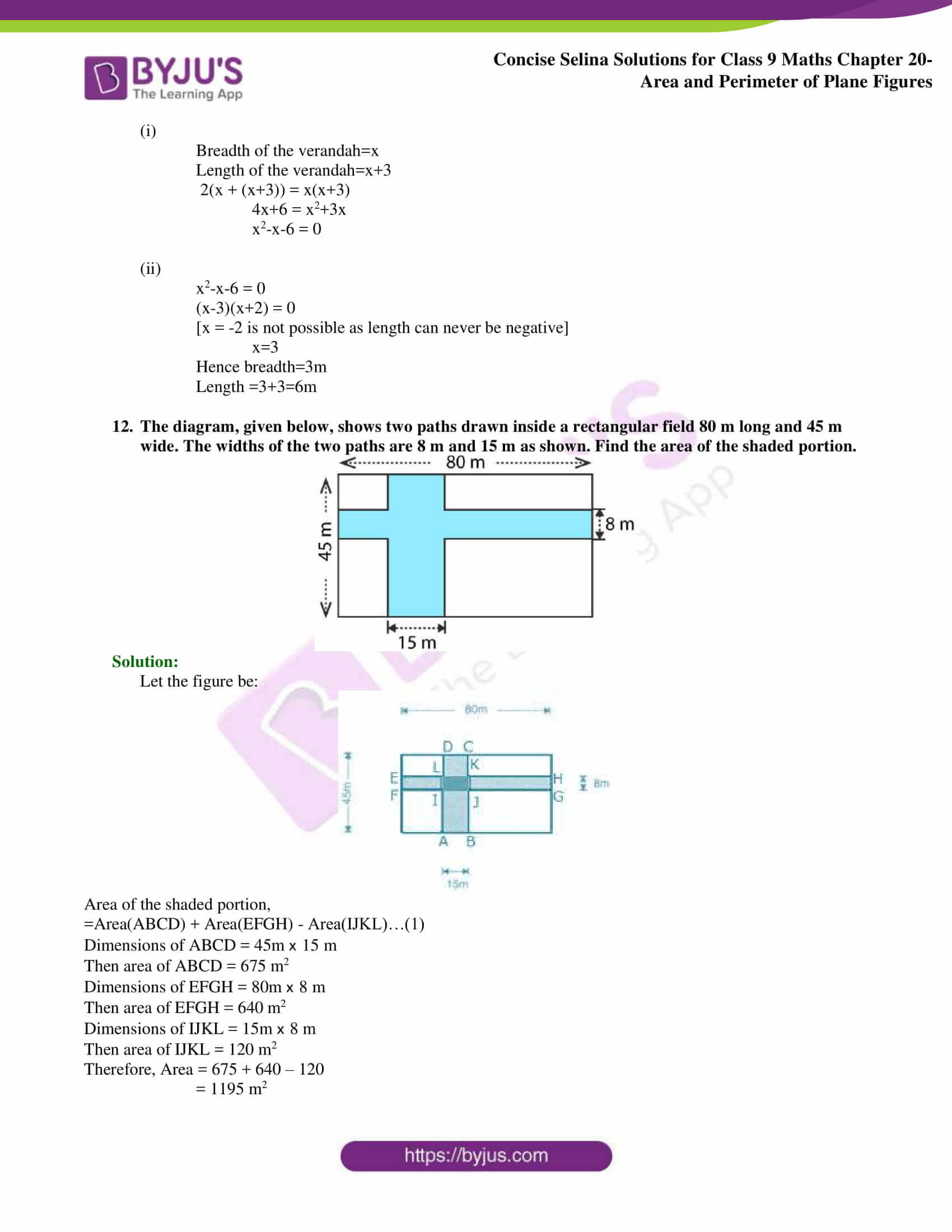 Concise Selina Solutions Class 9 Maths Chapter 20 Area and Perimeter of Plane part 16