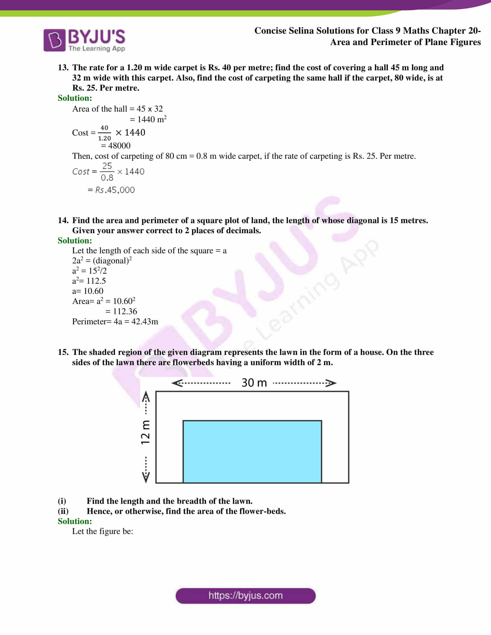Concise Selina Solutions Class 9 Maths Chapter 20 Area and Perimeter of Plane part 17