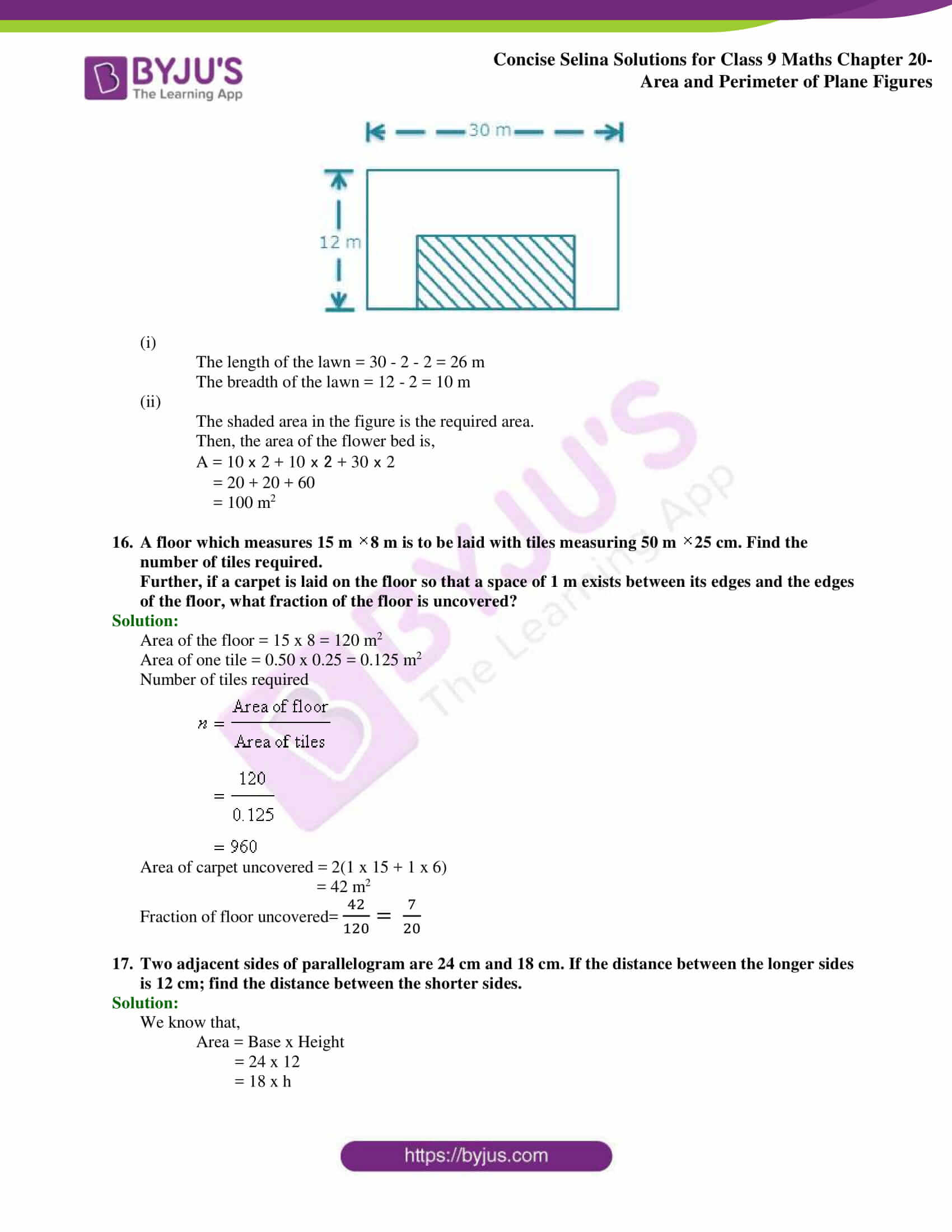 Concise Selina Solutions Class 9 Maths Chapter 20 Area and Perimeter of Plane part 18