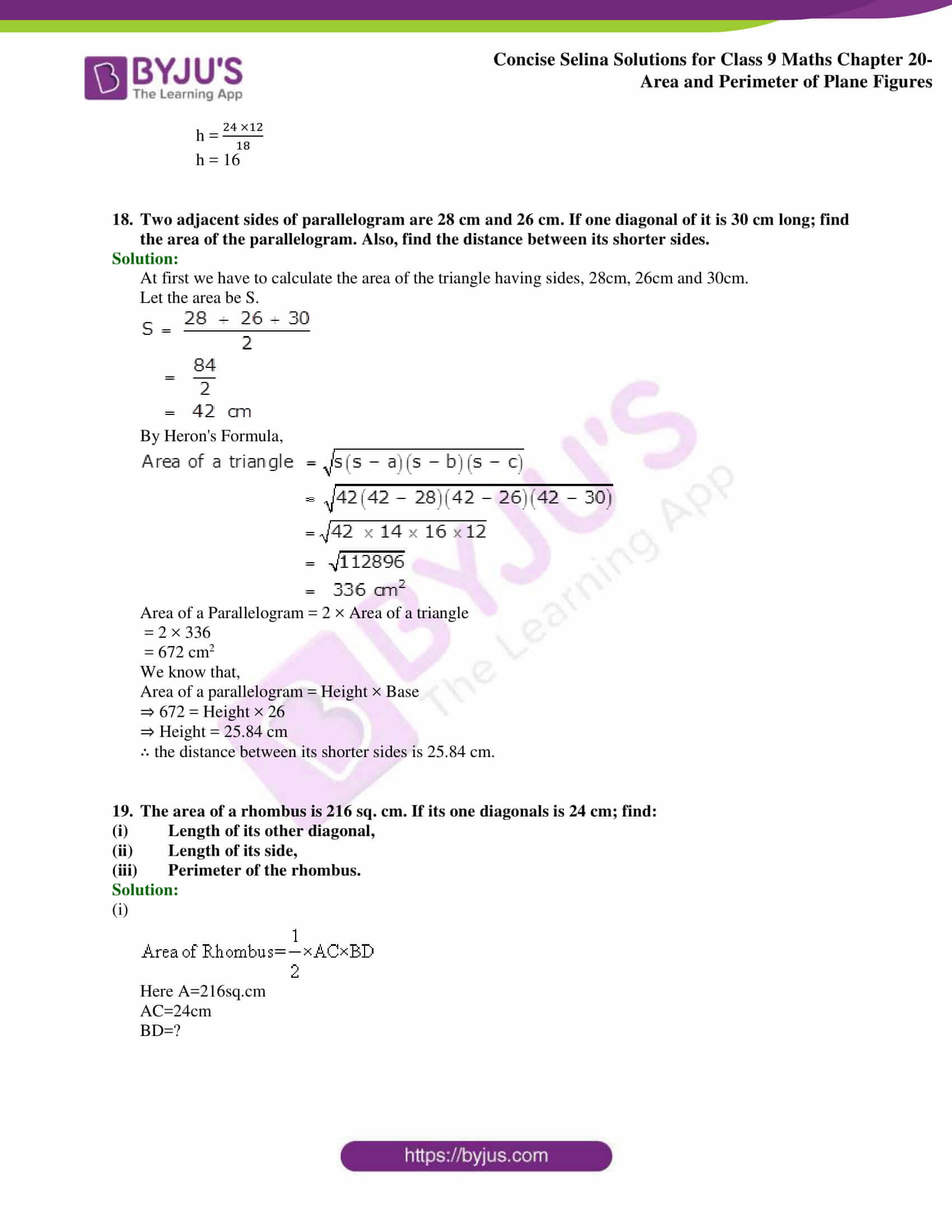 Concise Selina Solutions Class 9 Maths Chapter 20 Area and Perimeter of Plane part 19