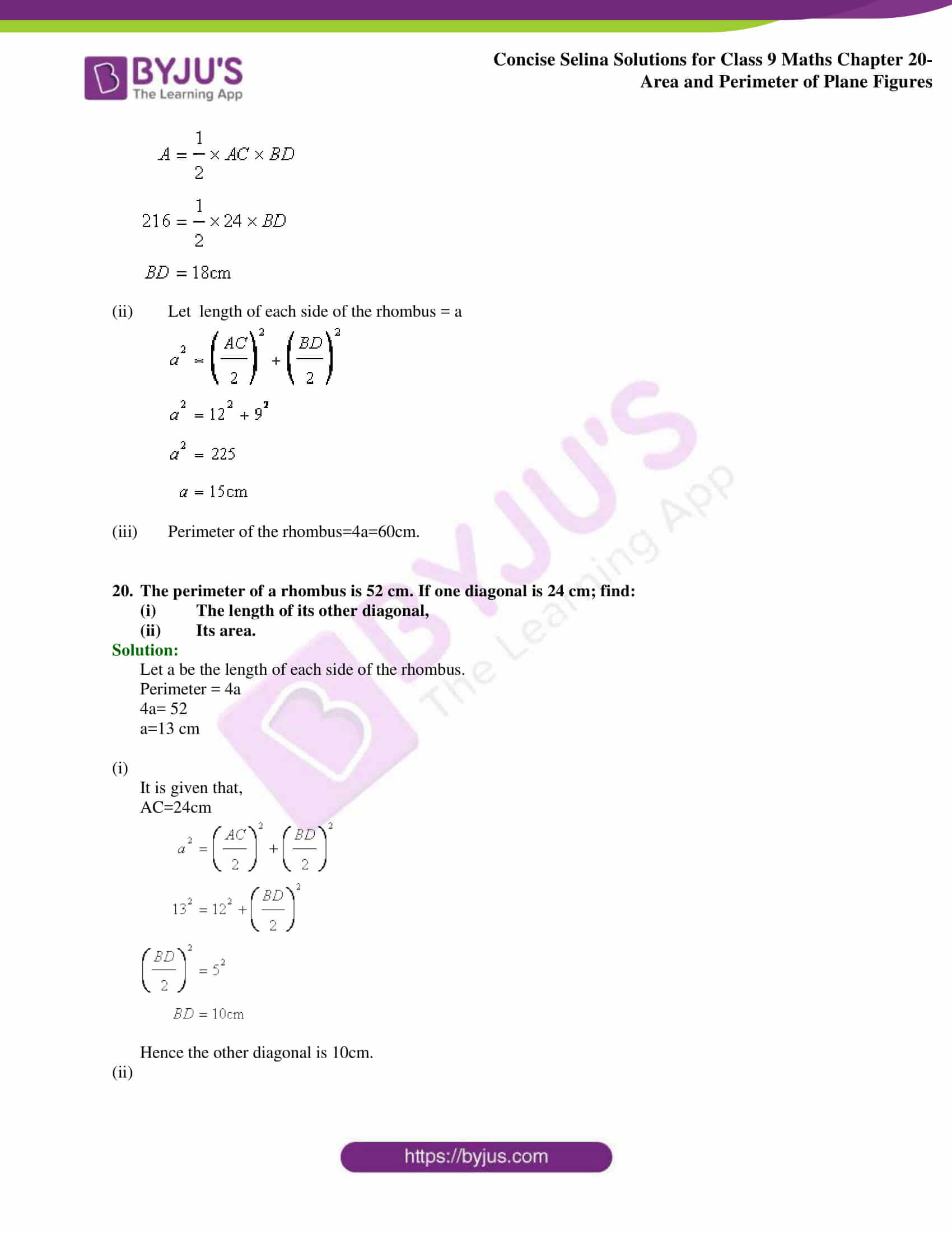 Concise Selina Solutions Class 9 Maths Chapter 20 Area and Perimeter of Plane part 20