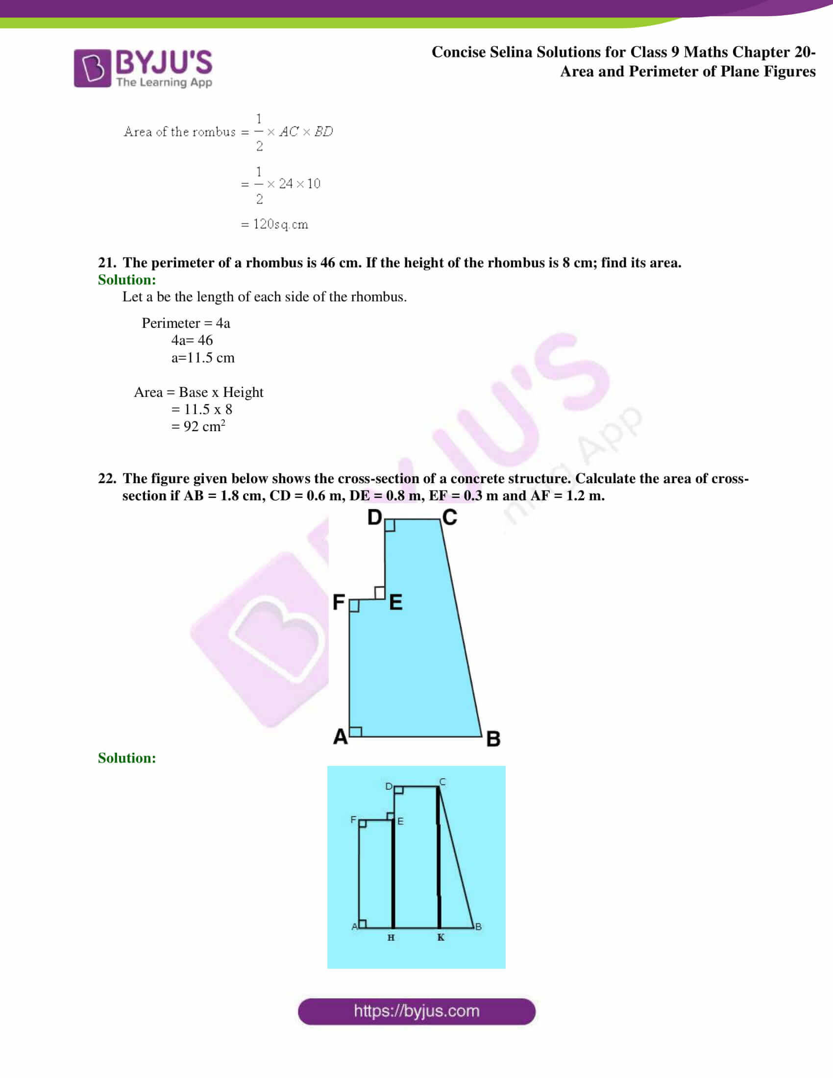 Concise Selina Solutions Class 9 Maths Chapter 20 Area and Perimeter of Plane part 21