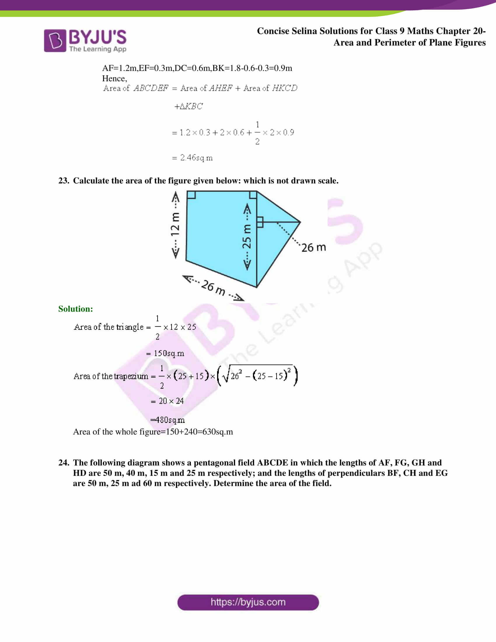Concise Selina Solutions Class 9 Maths Chapter 20 Area and Perimeter of Plane part 22