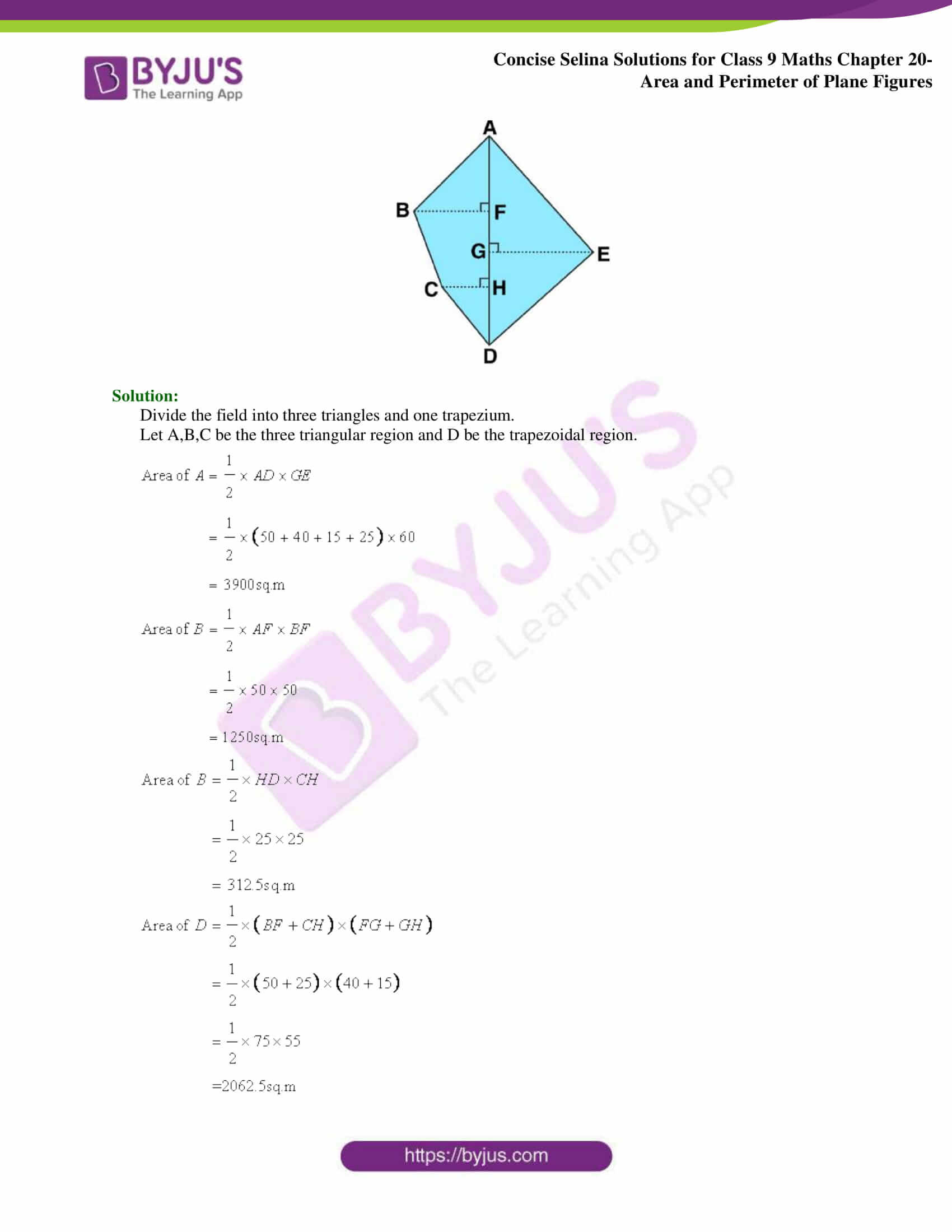 Concise Selina Solutions Class 9 Maths Chapter 20 Area and Perimeter of Plane part 23