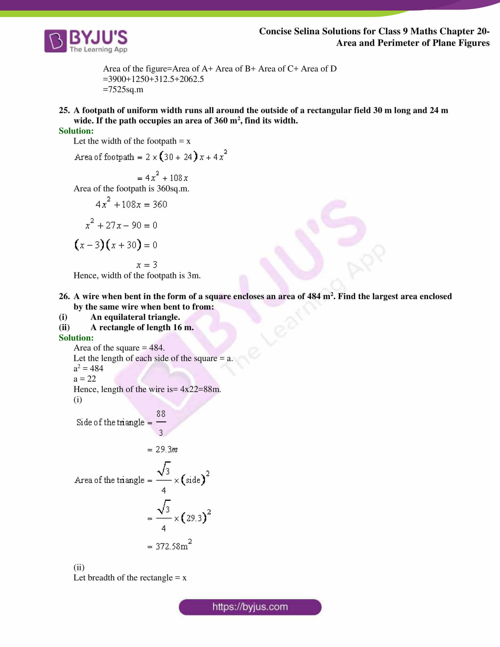 Concise Selina Solutions Class 9 Maths Chapter 20 Area and Perimeter of Plane part 24
