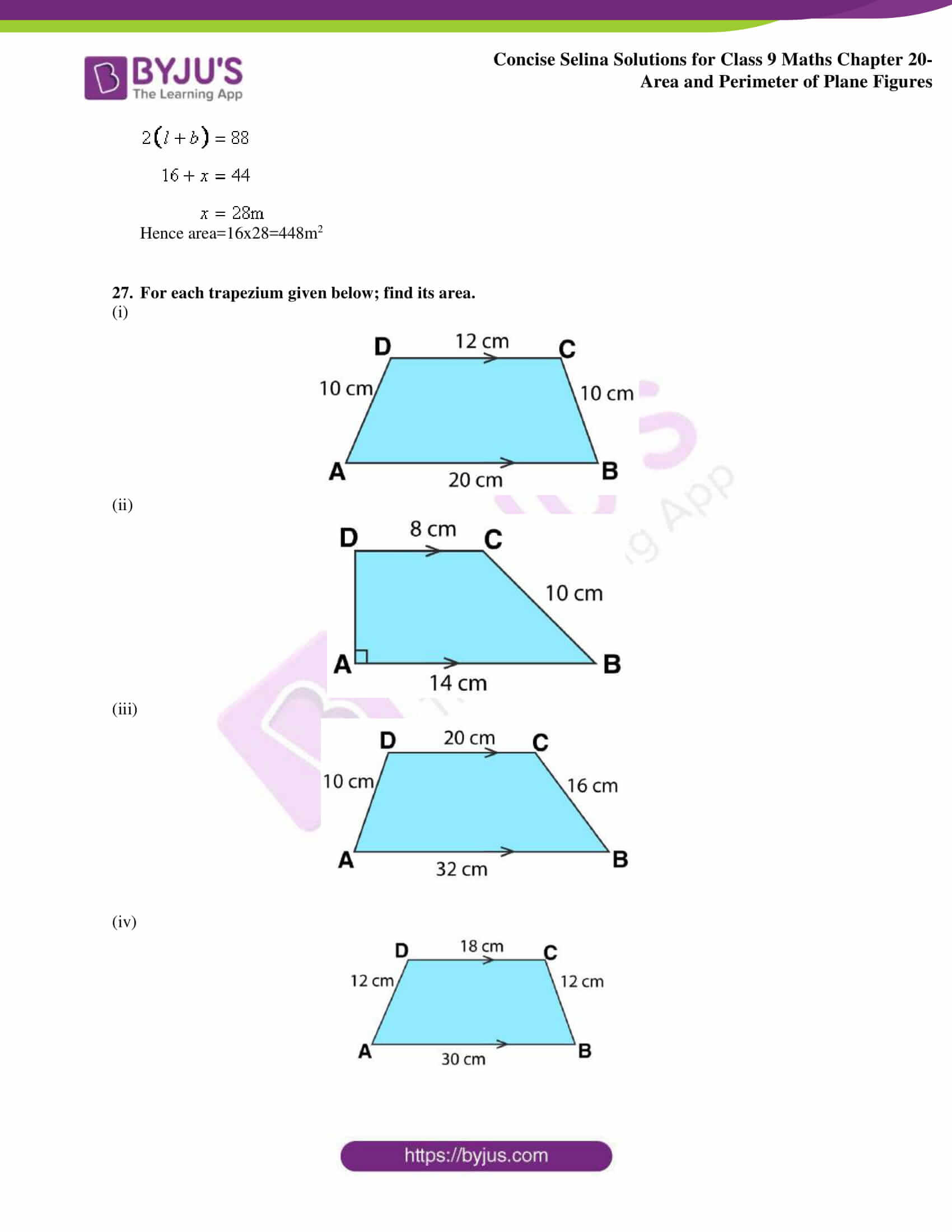 Concise Selina Solutions Class 9 Maths Chapter 20 Area and Perimeter of Plane part 25