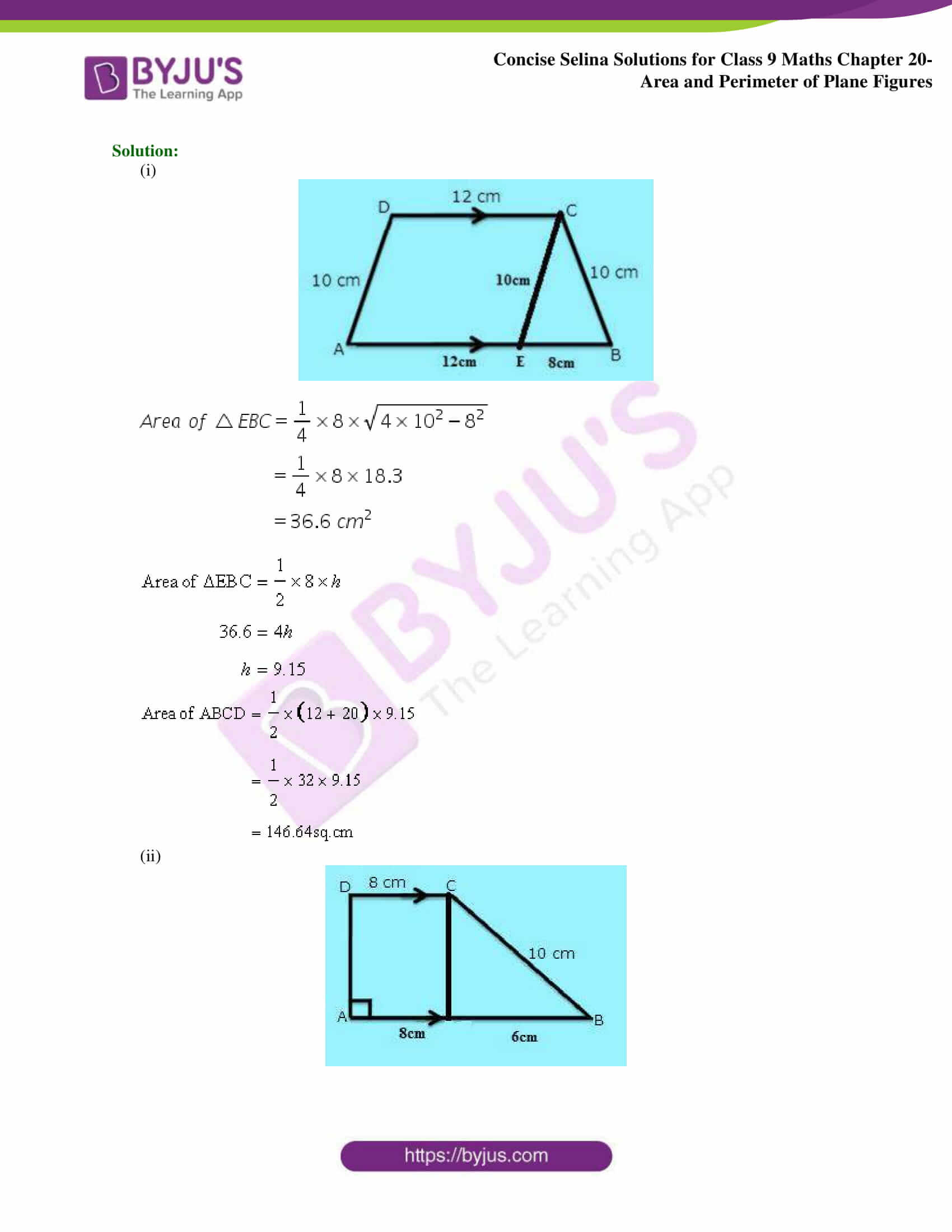 Concise Selina Solutions Class 9 Maths Chapter 20 Area and Perimeter of Plane part 26